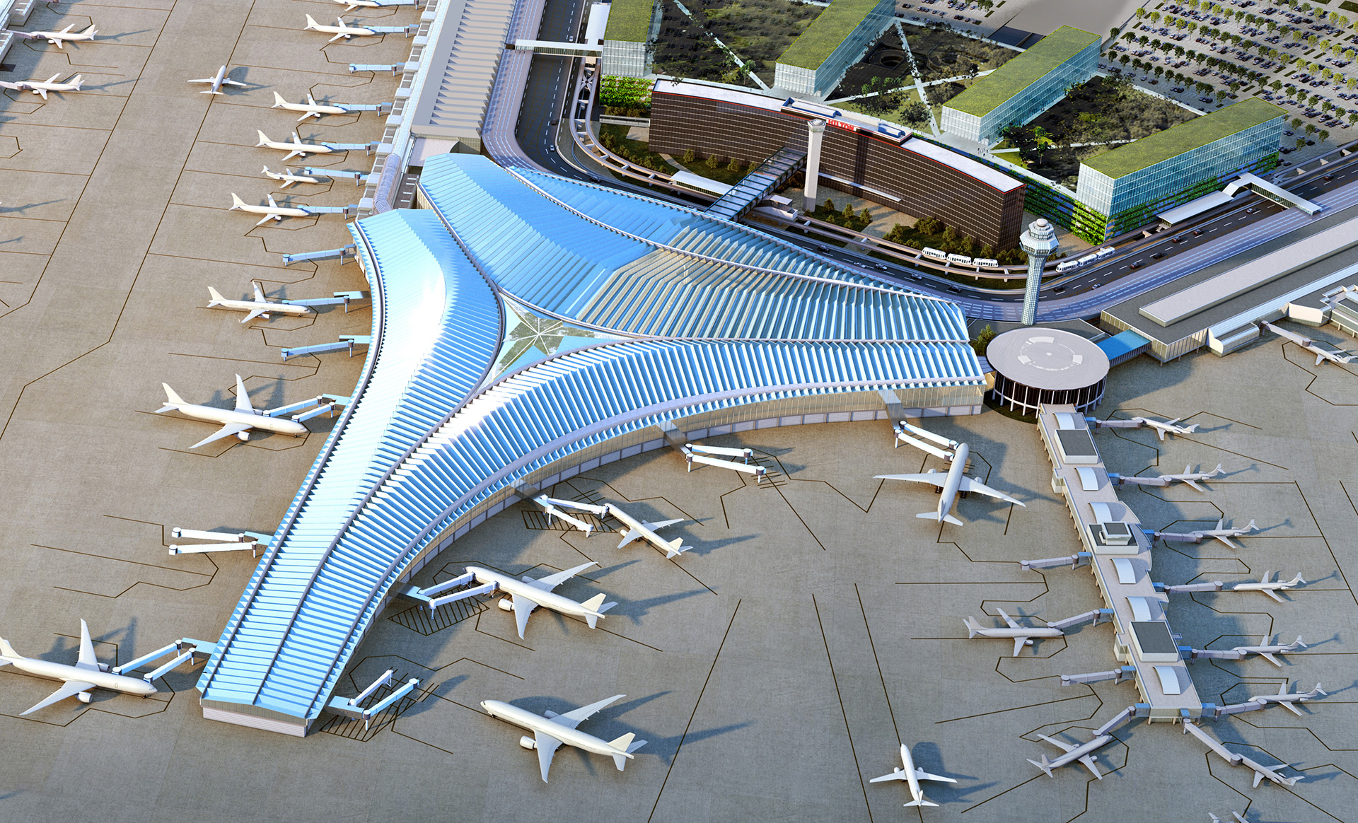 'Y' shaped design reflecting upon Chicago's culture | O'Hare International Airport| Studio ORD| STIR