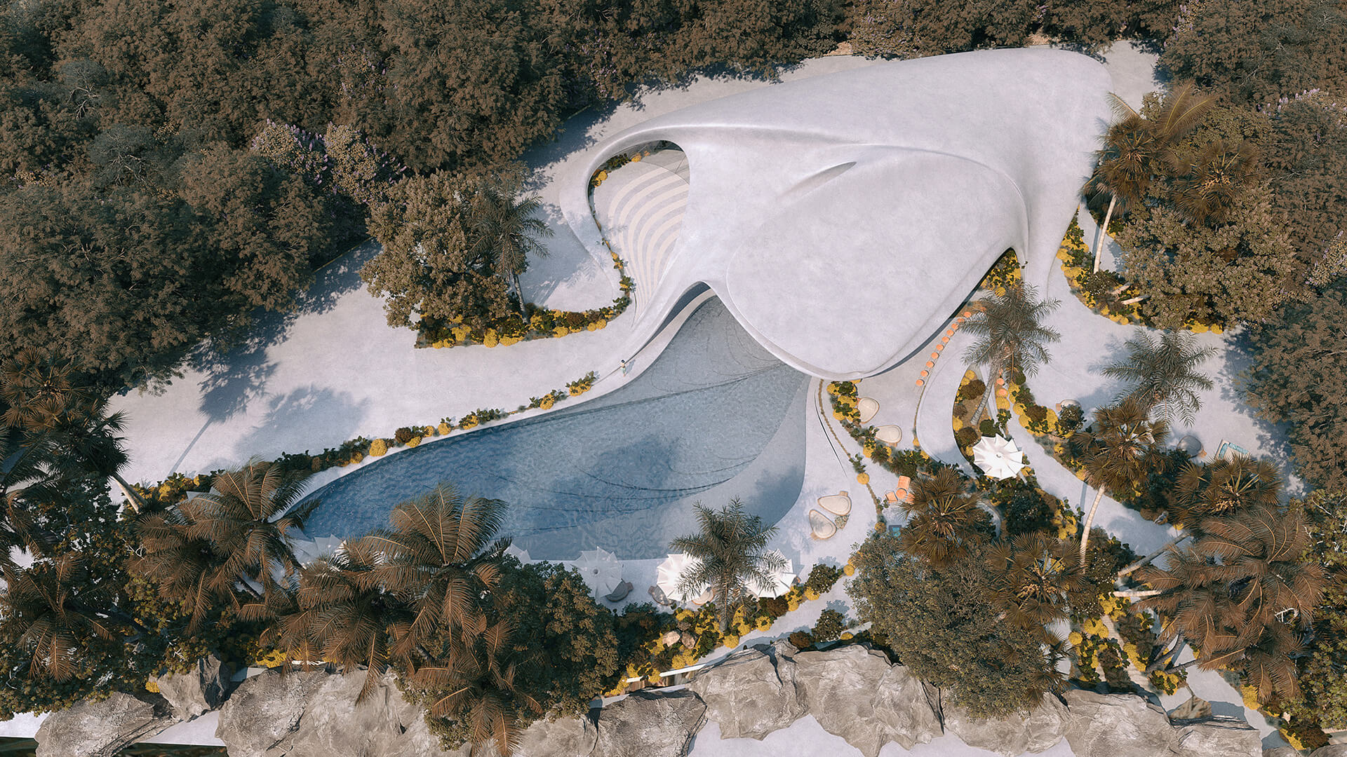 Aerial view of Villa G01 | Villa G01 imagined by Mask Architects | STIRworld