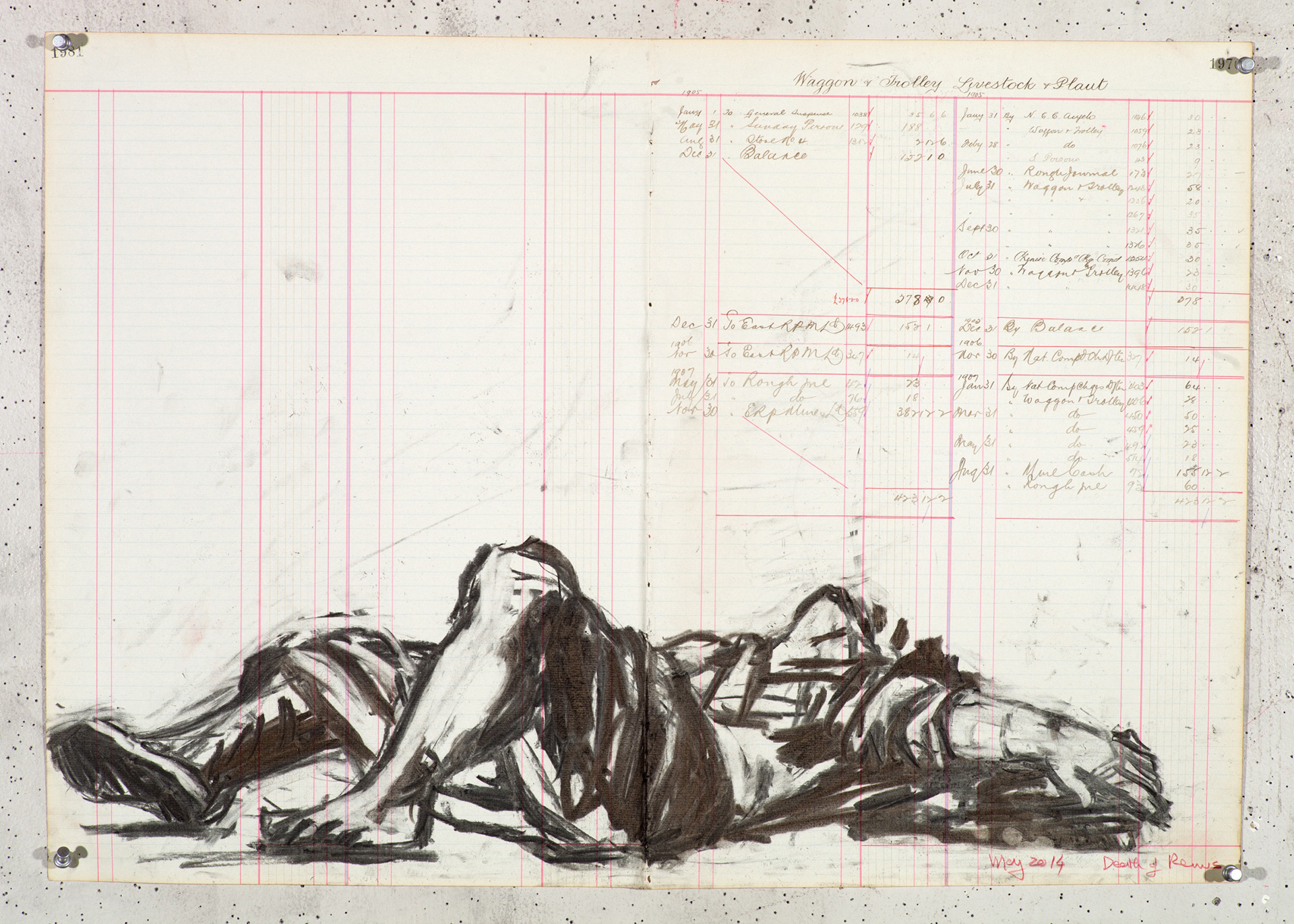 Dead Remus, charcoal on ledger paper, 47 x 66.5 cm, 2014-2016| A Poem That Is Not Our Own| William Kentridge| STIR