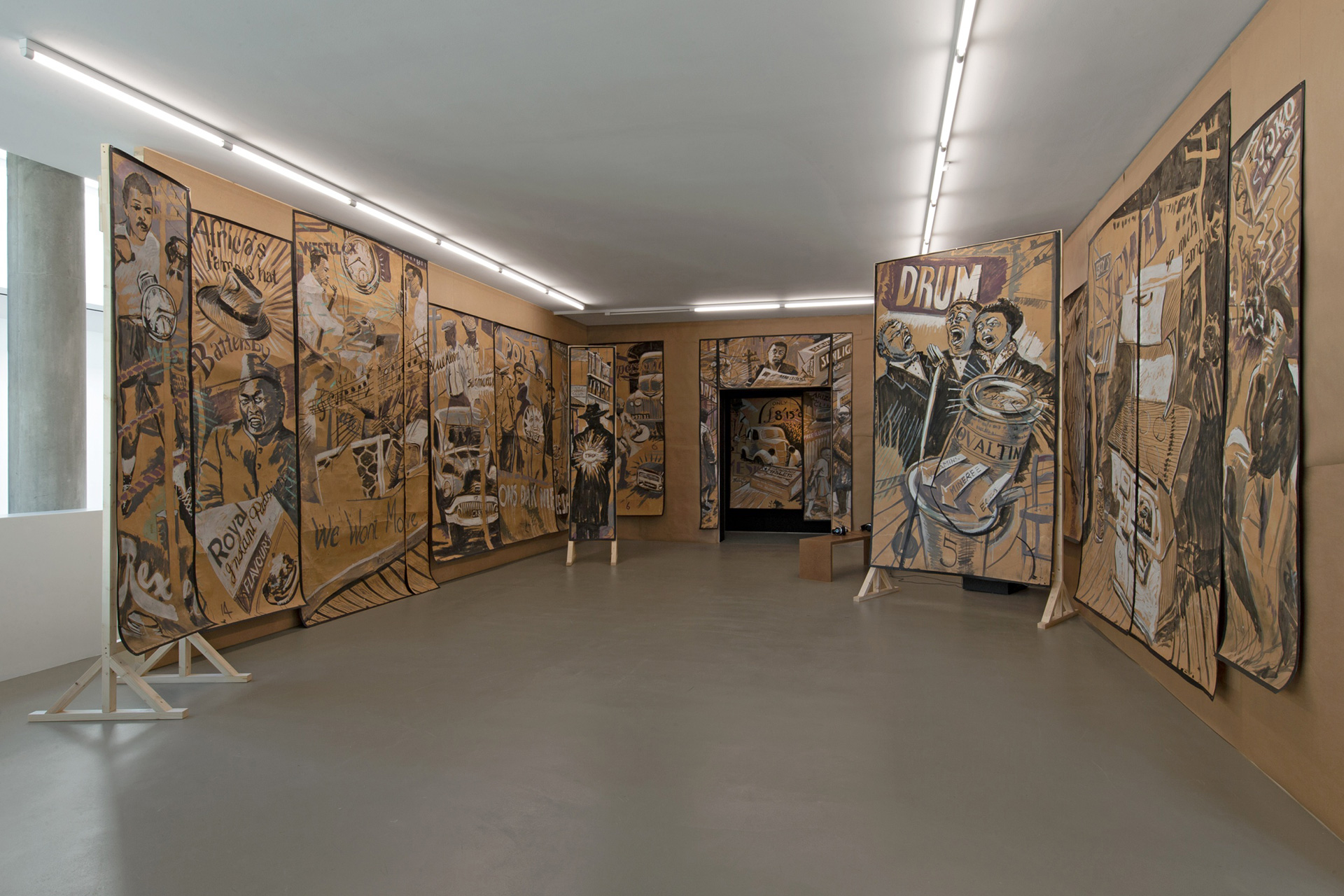 Backdrops made for Sophiatown, William Kentridge, 1989, Gouache on brown paper | William Kentridge| STIR