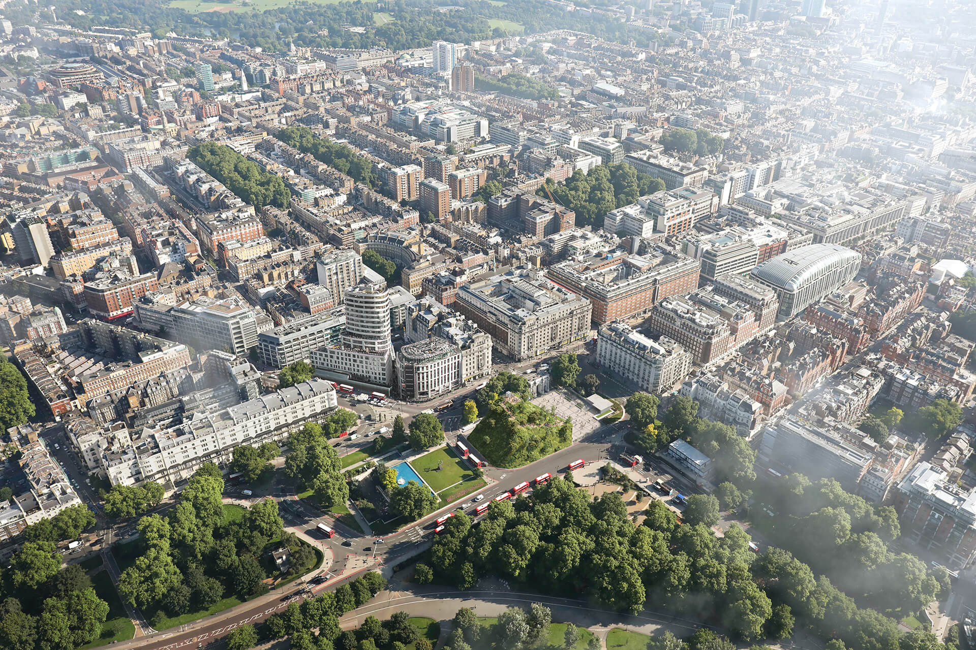 Aerial view of Oxford Street | Marble Arch Hill designed by MVRDV| STIRworld
