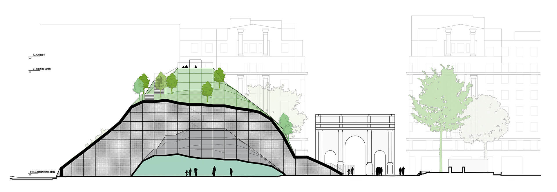 Drawing of  Marble Arch Hill | Marble Arch Hill designed by MVRDV| STIRworld