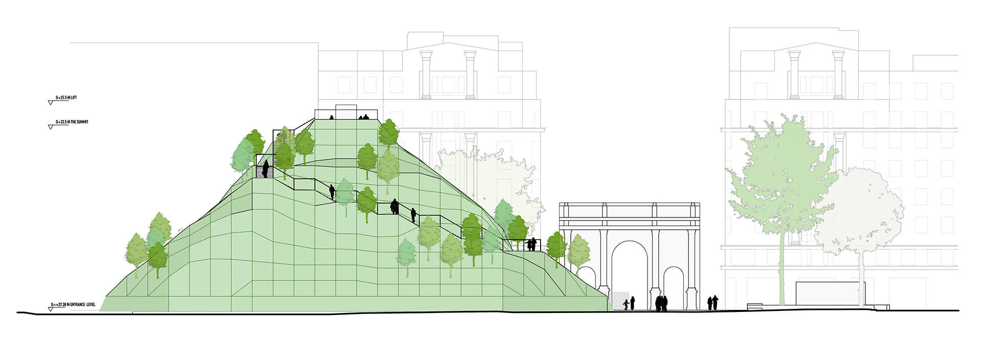 Drawing of the south elevation| Marble Arch Hill designed by MVRDV| STIRworld