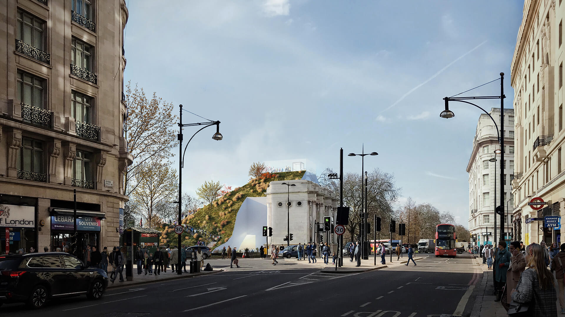 The 22 meter tall Hill gives the visitors an overview of the Oxford Street and Hyde Park | Marble Arch Hill designed by MVRDV| STIRworld