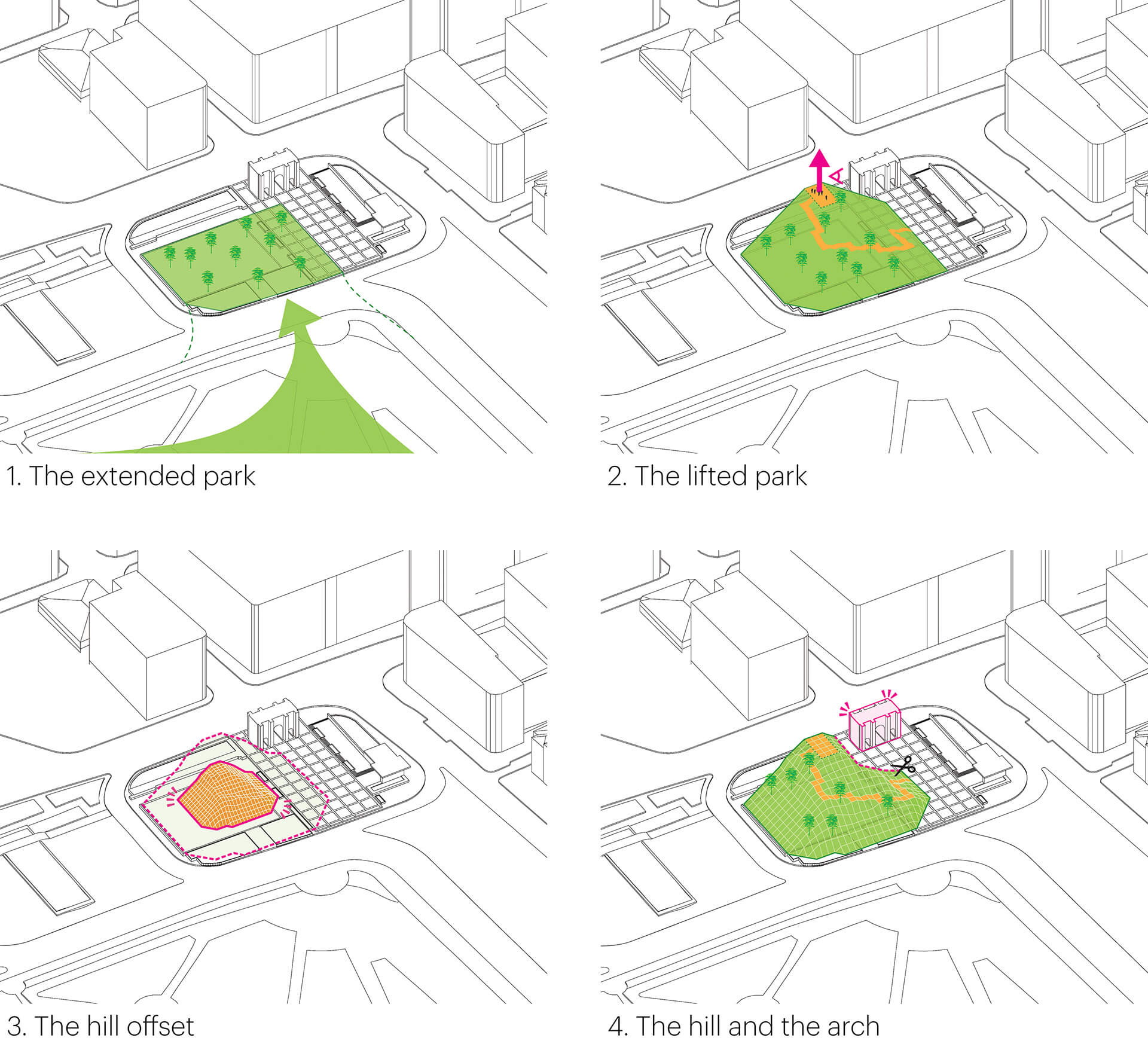 Plan for Marble Arch Hill depicted in steps | Marble Arch Hill designed by MVRDV| STIRworld
