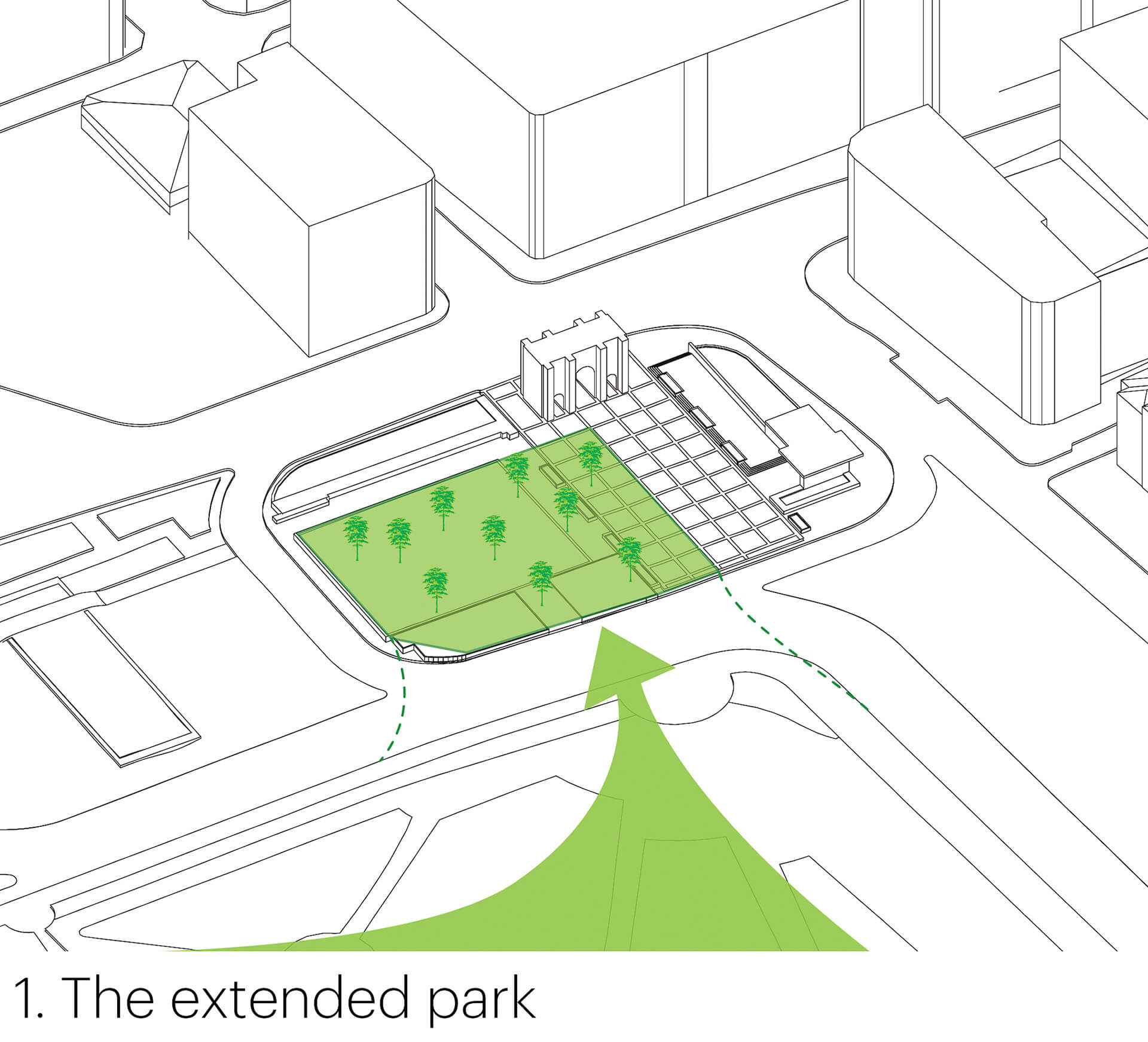 Drawing of the extended park | Marble Arch Hill designed by MVRDV| STIRworld