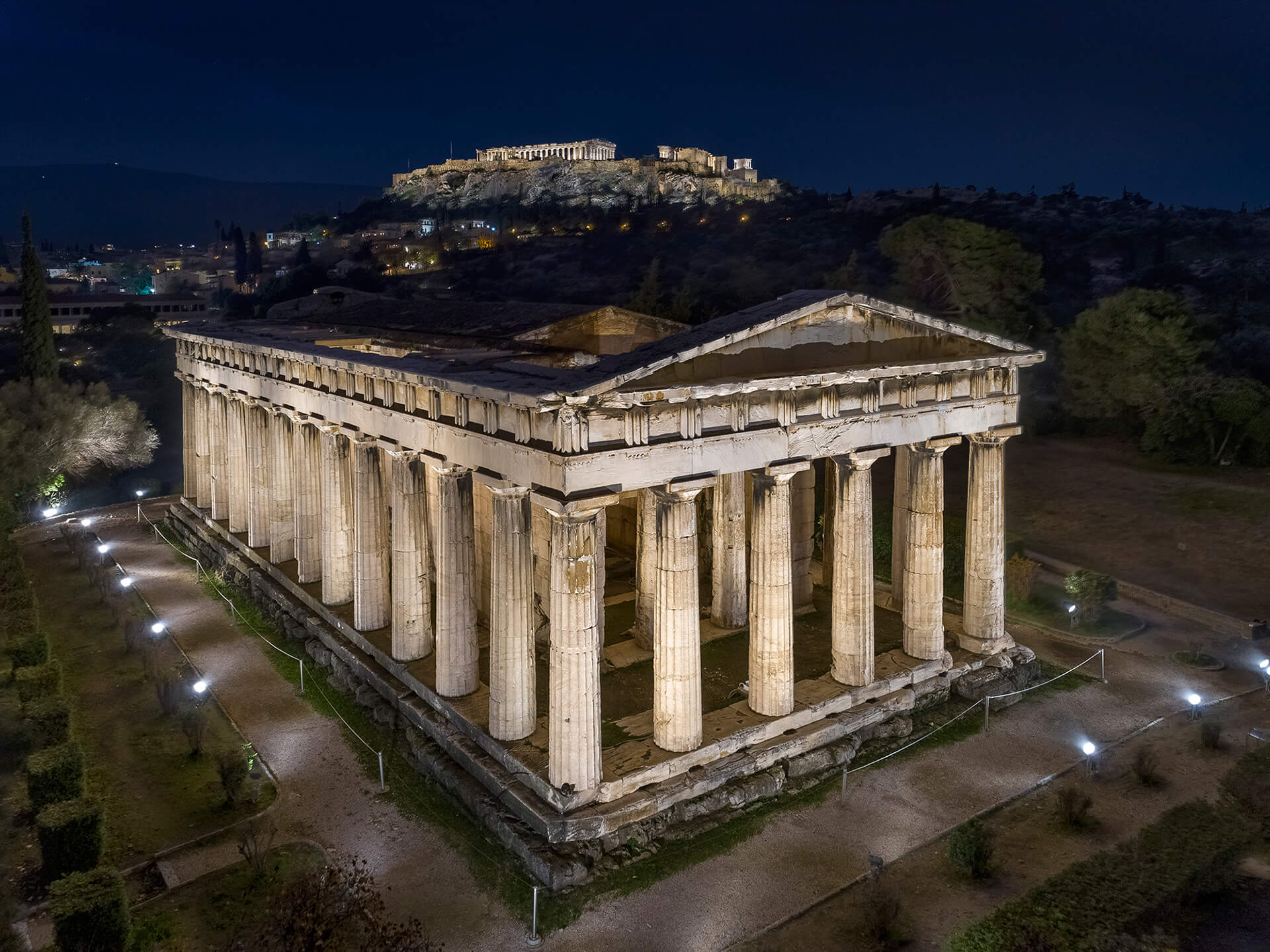 The new lighting system allows for a more versatile display that can be customised to draw attention to specific aspects of the structure's architecture as seen here in the Temple of Hephaestus | Acropolis of Athens by Onassis Foundation designed by Eleftheria Deko | STIRworld