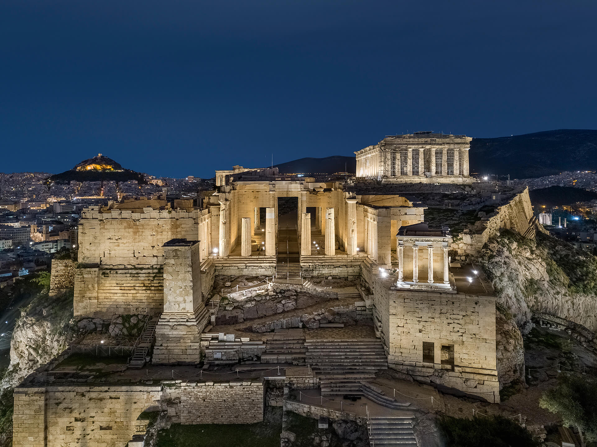 The Parthenon is one of the nine landmarks that have been completely re-lit | Acropolis of Athens by Onassis Foundation designed by Eleftheria Deko | STIRworld