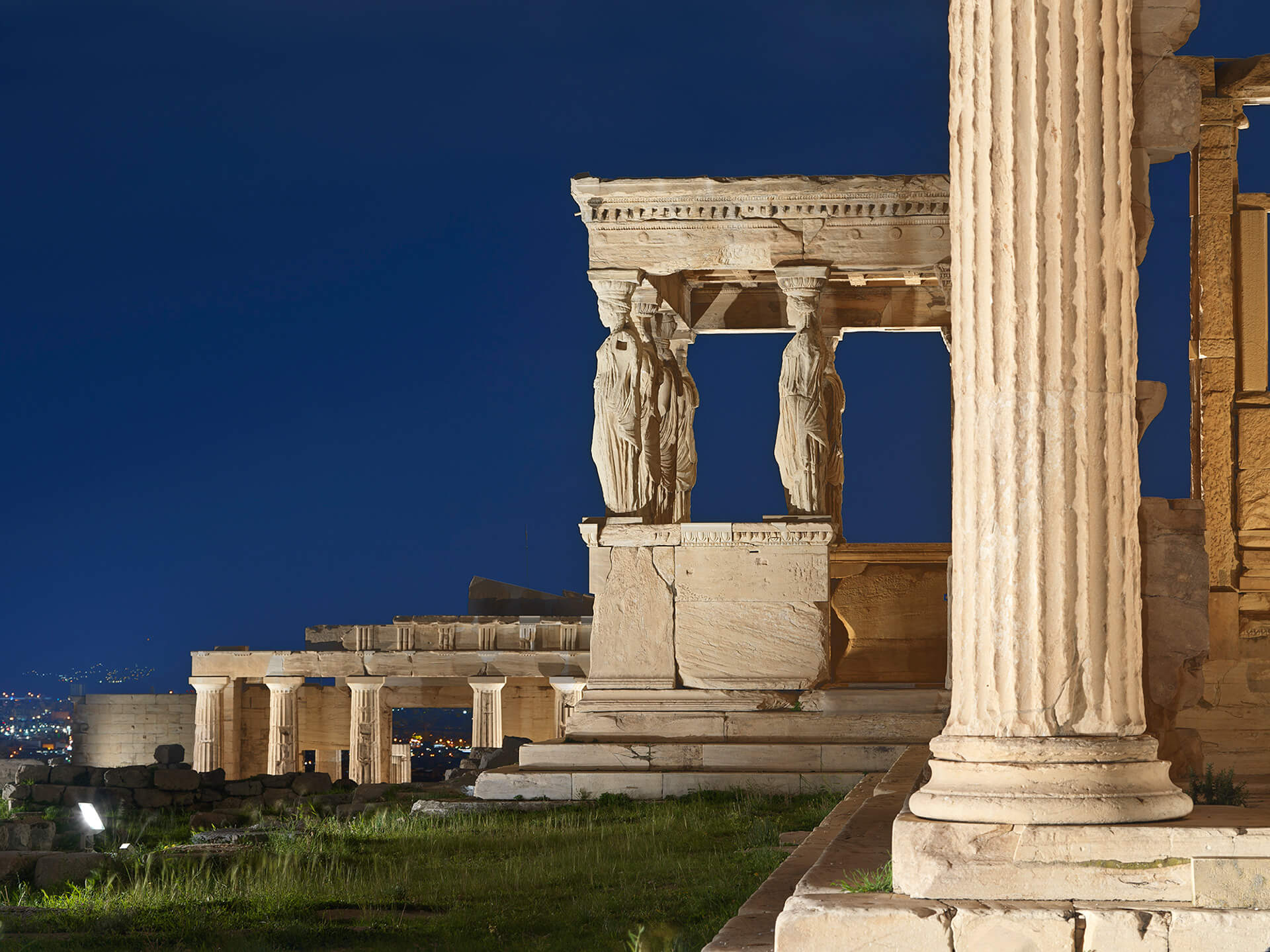 The Erechtheion, which features the Ionic order of architecture, is known for its carefully sculpted columns, or caryatids | Acropolis of Athens by Onassis Foundation designed by Eleftheria Deko | STIRworld