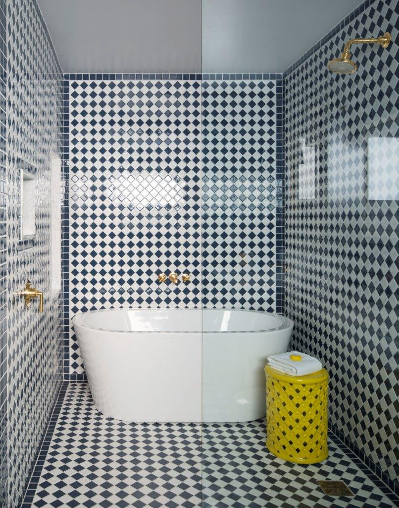 The bath, with more graphic tiling, makes guests want to linger|The Sands Hotel and Spa | Martyn Lawrence Bullard| STIR