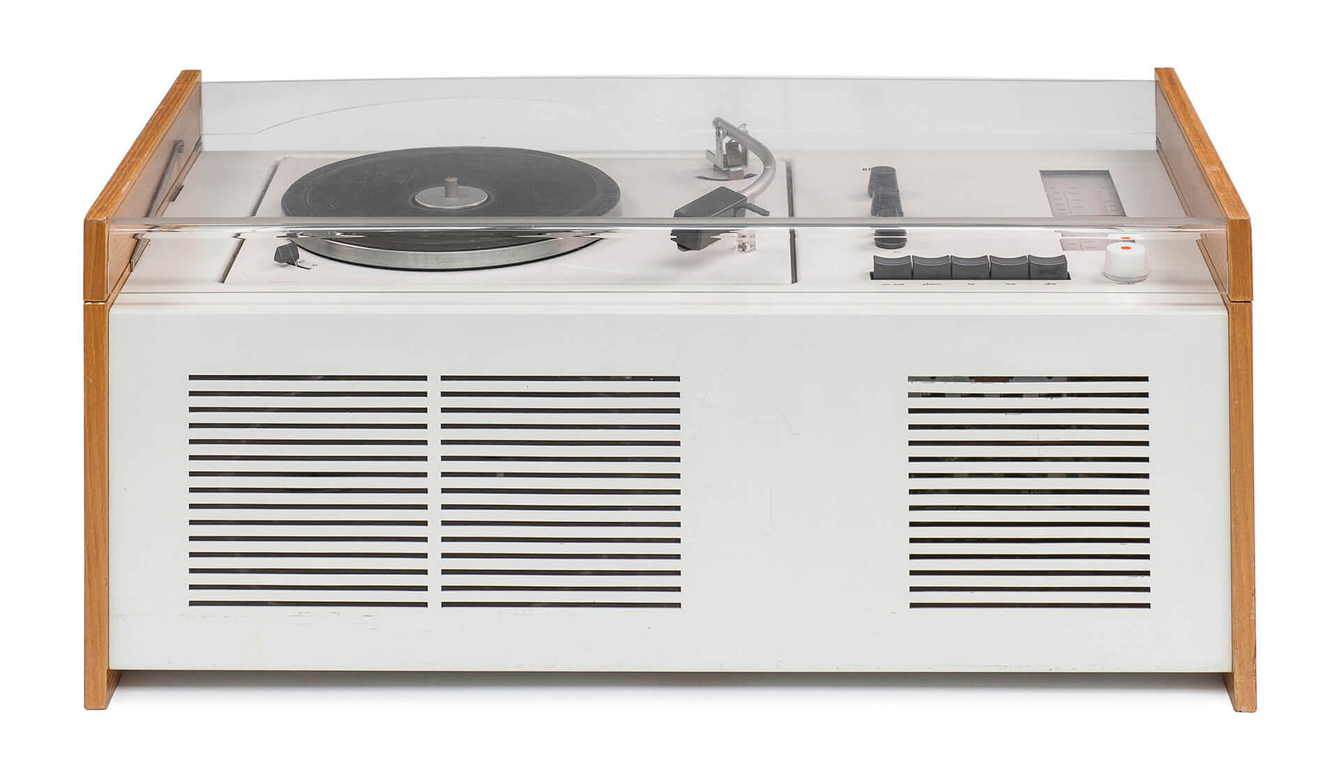 Dieter Rams and Hans Gugelot, Stereo-Phonosuper, SK 6, called Schneewittchensarg), 1956/60 | German Design 1949–1989, Two Countries, One History at Vitra Design Museum, Germany | STIRworld