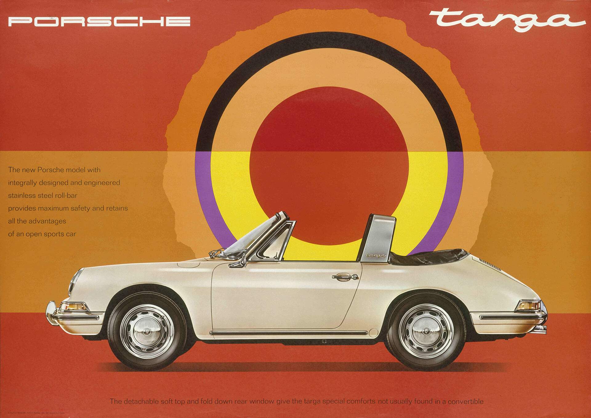 Advertisement of the Porsche 911 Targa, 1967 | German Design 1949–1989, Two Countries, One History at Vitra Design Museum, Germany | STIRworld