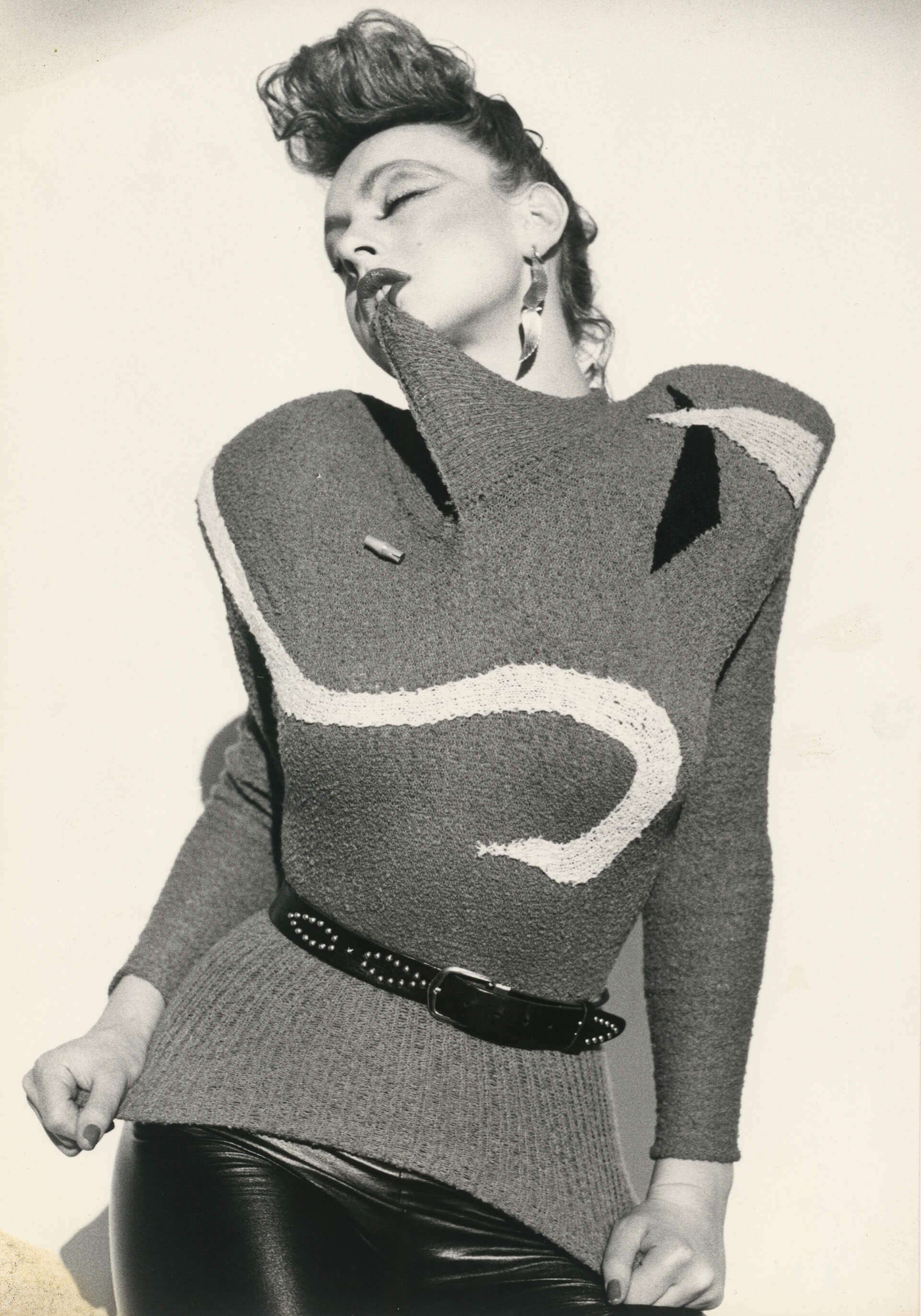 Claudia Skoda, knitwear design from the collection Fruits, ca. 1978, model: Irene Staub alias Lady Shiva) German Design 1949–1989, Two Countries, One History at Vitra Design Museum, Germany | STIRworld