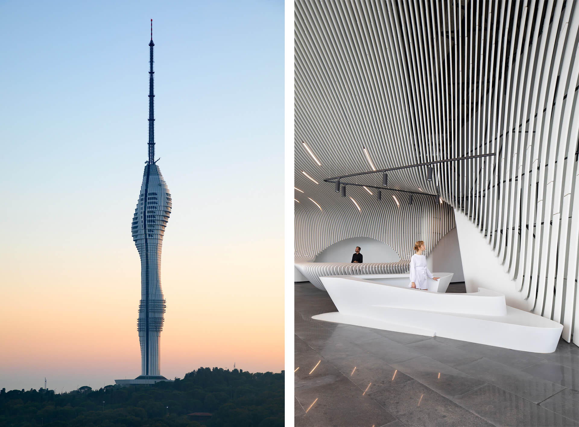 The interior of the space expresses the same dynamic movement along its surface as the tower | Istanbul Camlica TV and Radio Tower | Melike Altinisik Architects | STIRworld