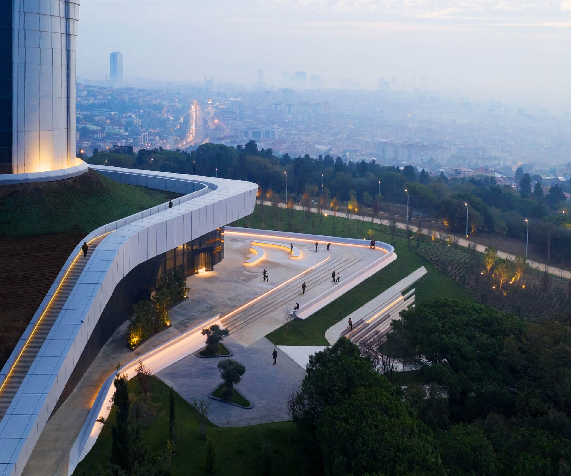 The base of the structure includes a public plaza | Istanbul Camlica TV and Radio Tower by Melike Altinisik Architects | STIRworld