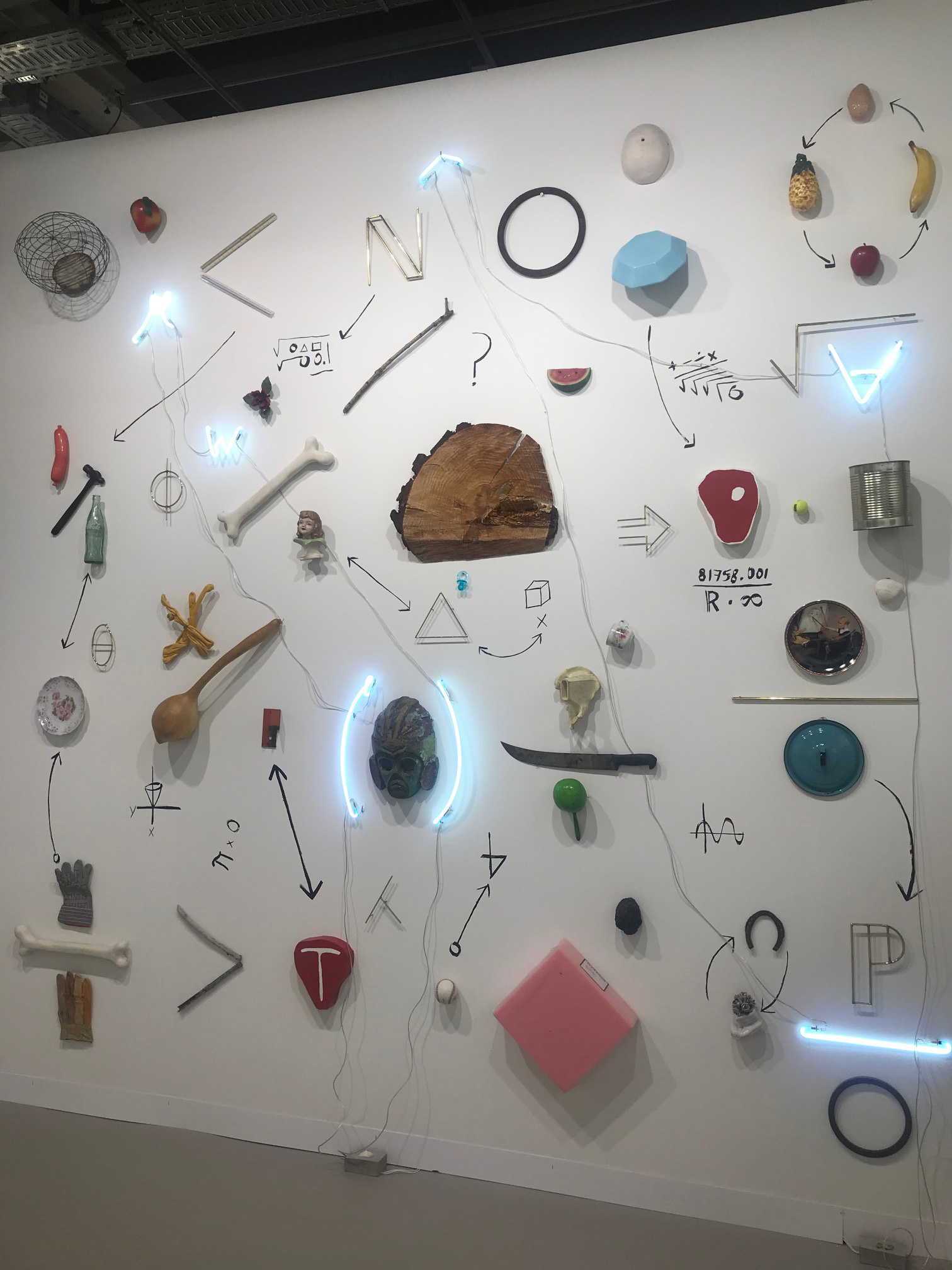 Gabriel Richo, 1 Mural, Different Objects, neon and brass, 126 x 126 1 x 3 inches| Art Basel| Switzerland| STIR