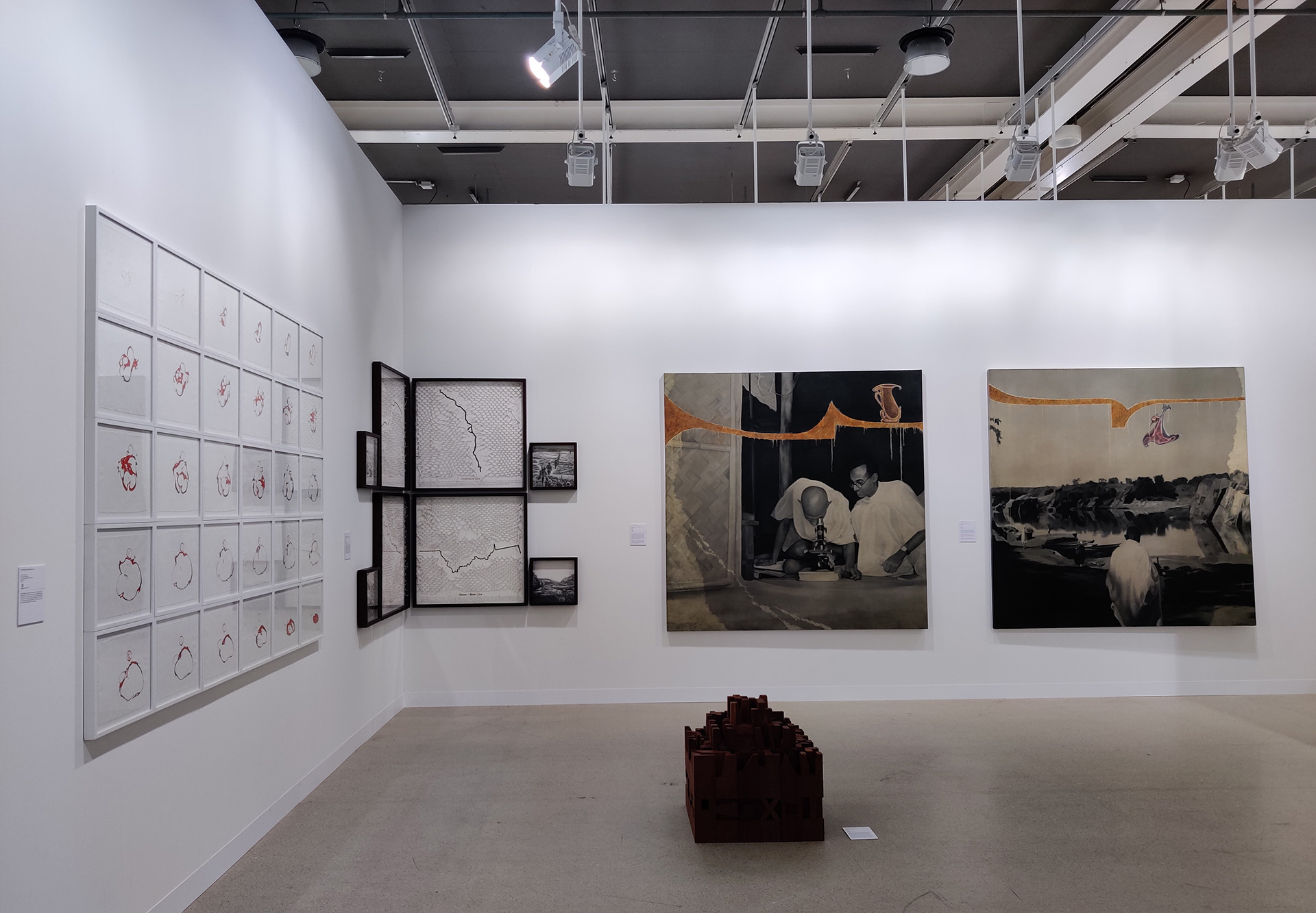 Chemould Prescott featured the works of artist Atul Dodiya and Bhuvesh Gowda, Reena Saini Kallat and Ritesh Meshram, Shilpa Gupta Yardendra Kurulkar and Mithu Sen| Art Basel| Switzerland| STIR