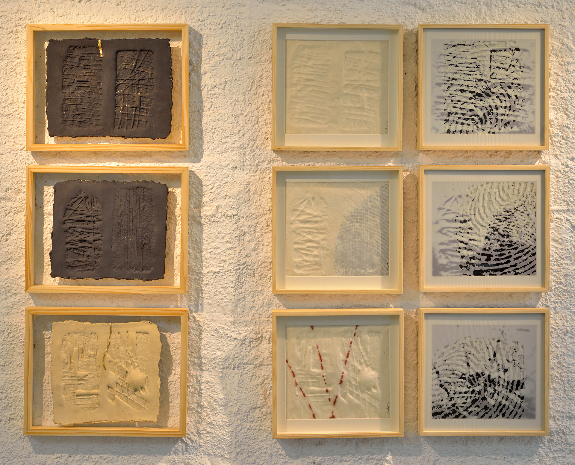 Rahul Kumar, Original Shadow, triptych of stoneware, embossed rice paper and vellum paper print, installed| Skin| Threshold Art Gallery| Georgina Maddox| STIR