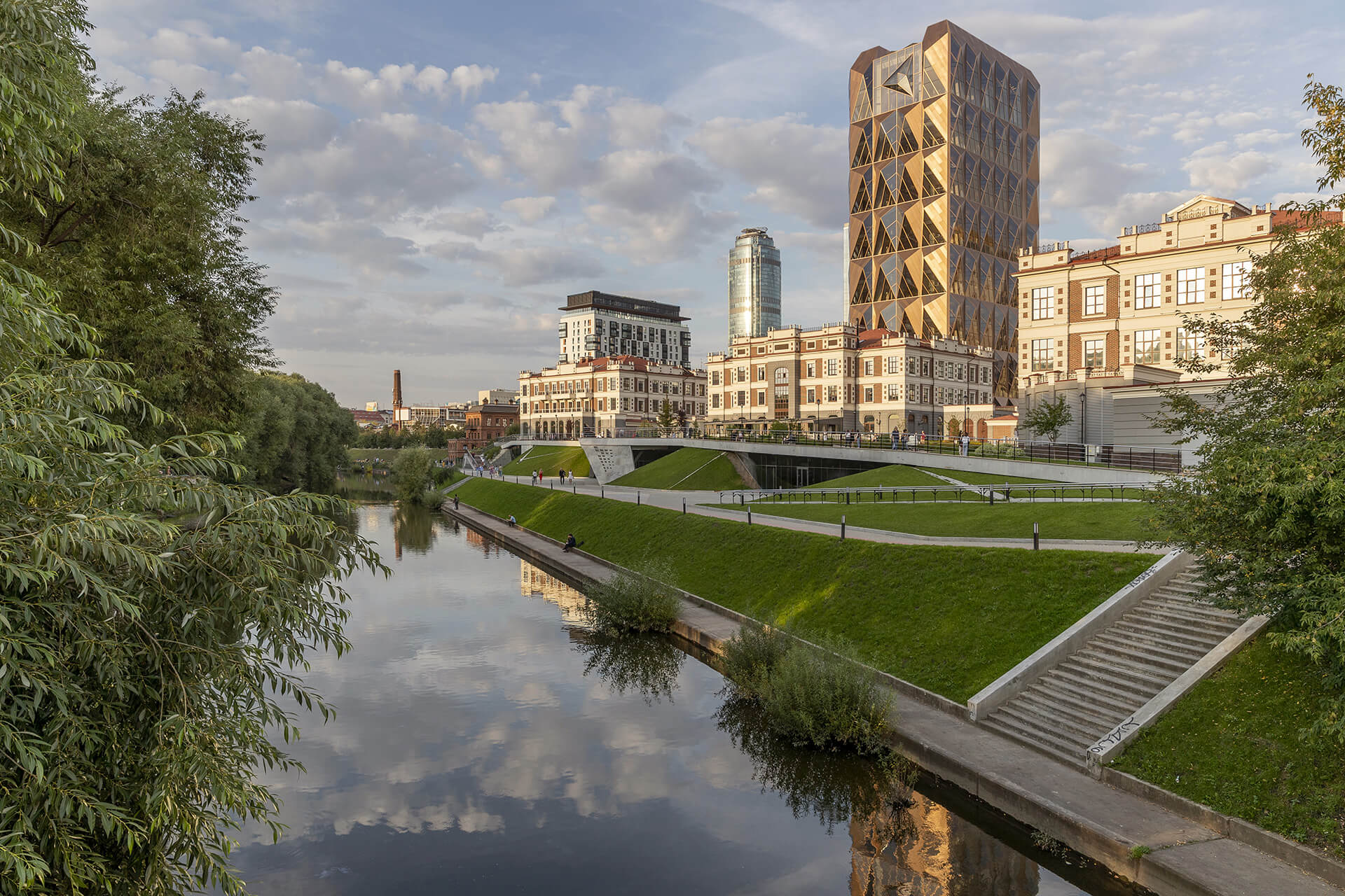 Exterior view from Iset River: The building pays tribute to the organization's line of work while providing a dazzling riverside landmark for residents | RCC Headquarters by Foster + Partners | STIRworld