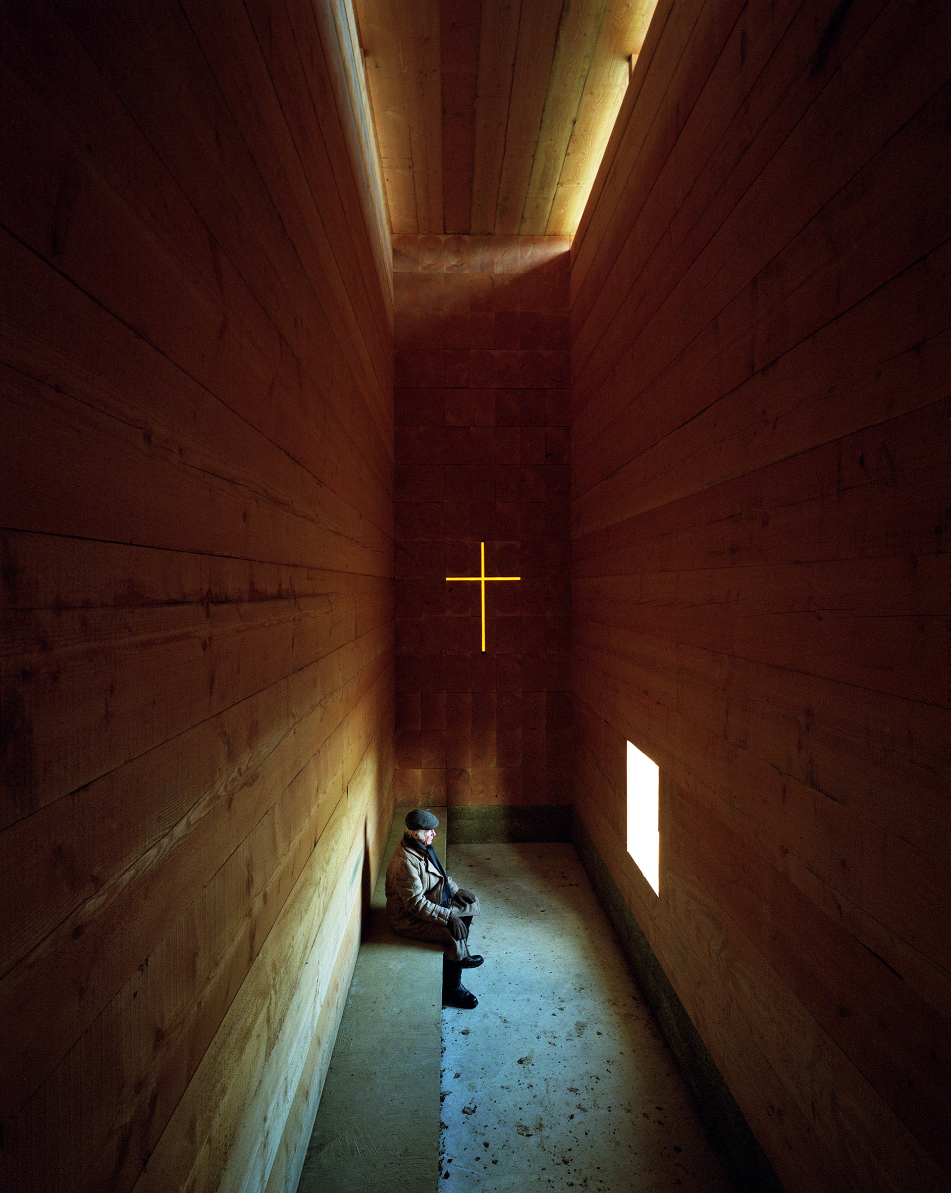 Light levels are kept deliberately low inside the chapel | Wooden Chapel | John Pawson | STIR