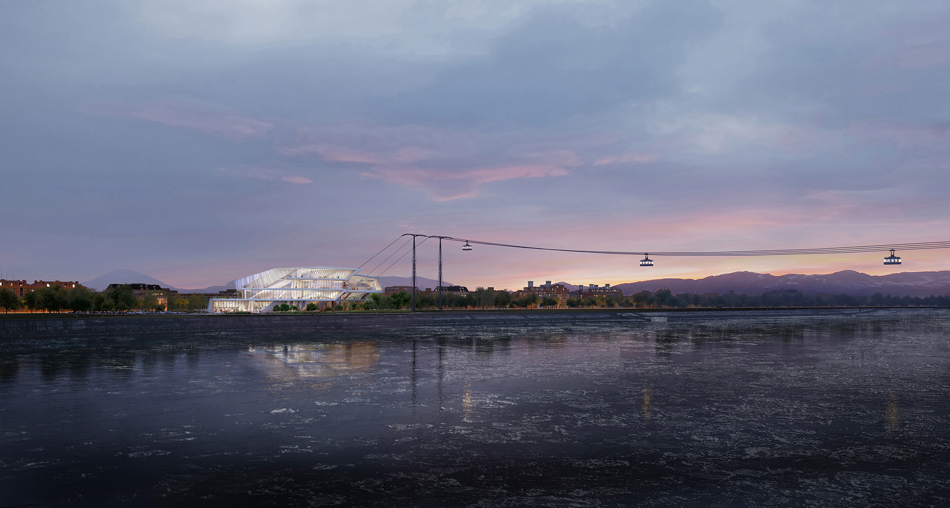 Panoramic view of the Blagoveshchensk terminal and the cable cars running over the Amur river|  Blagoveshchensk-Heihe cable car | UNStudio | STIR