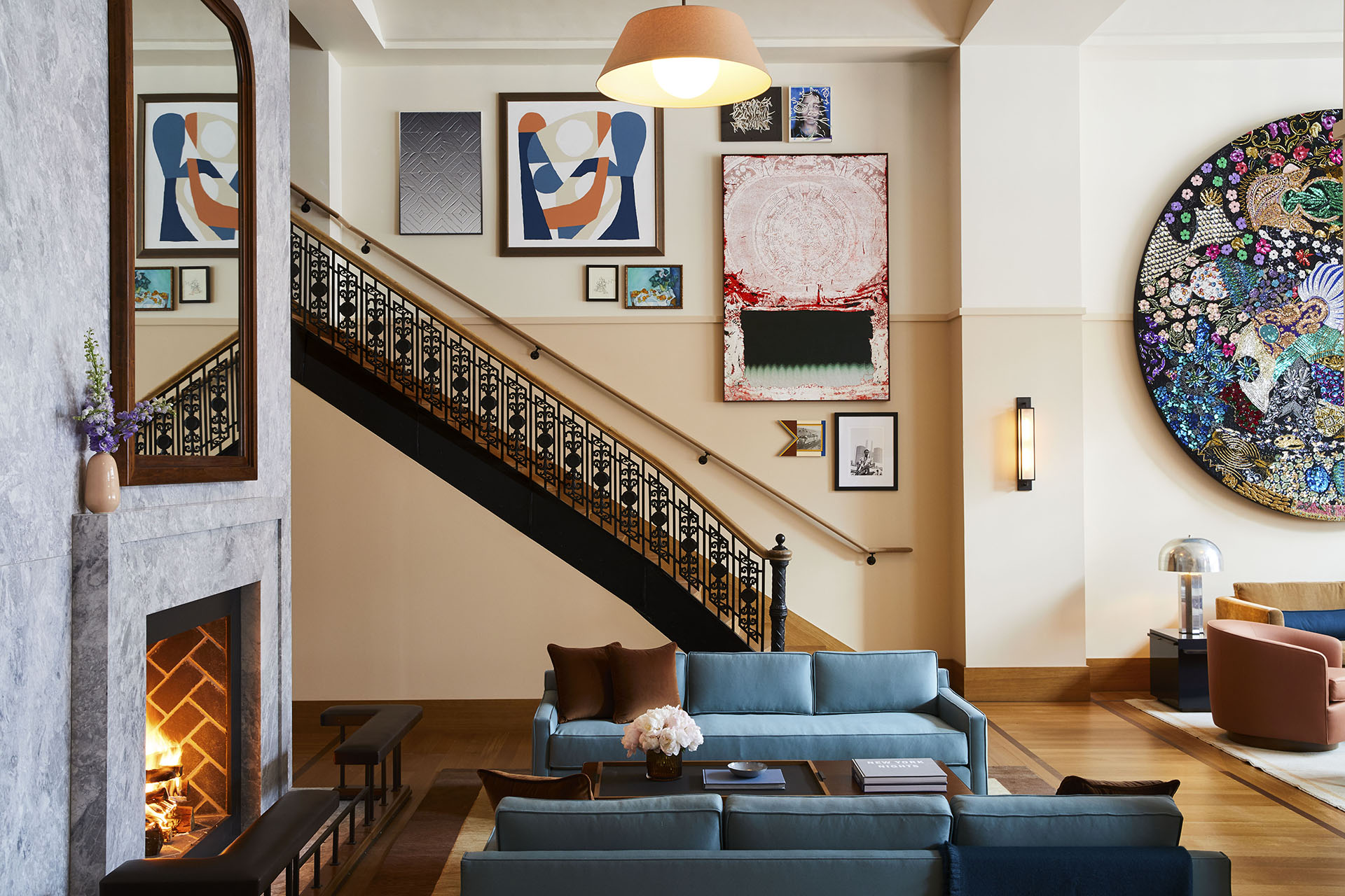 The living room is a lively, buzzing place at the iconic Shinola Hotel | Shinola Hotel| Gachot Studio | STIR
