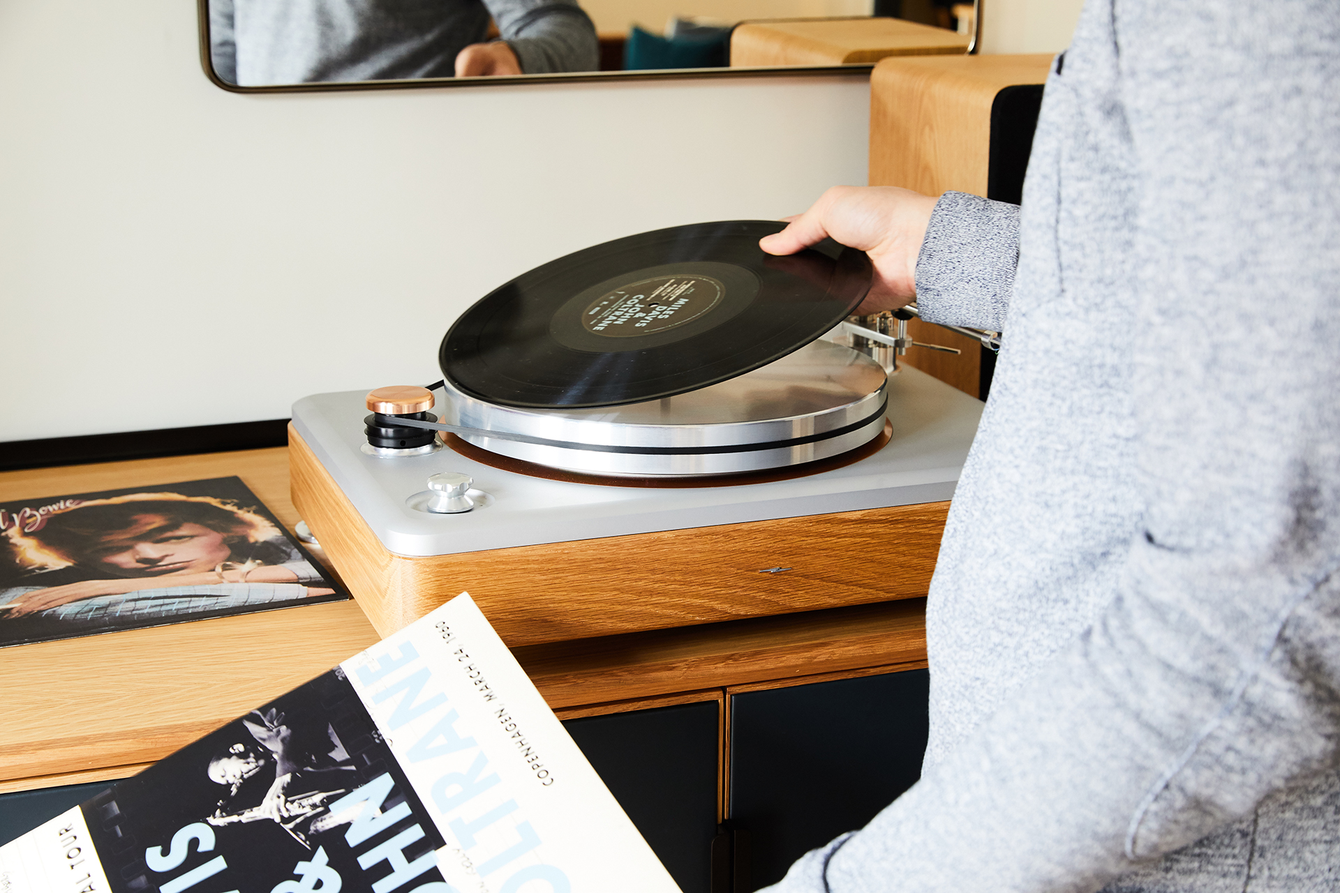 The Shinola Runwell turntable with its retail tag of $2,500 is the highlight of the Bedrock suite | Shinola Hotel| Gachot Studio | STIR