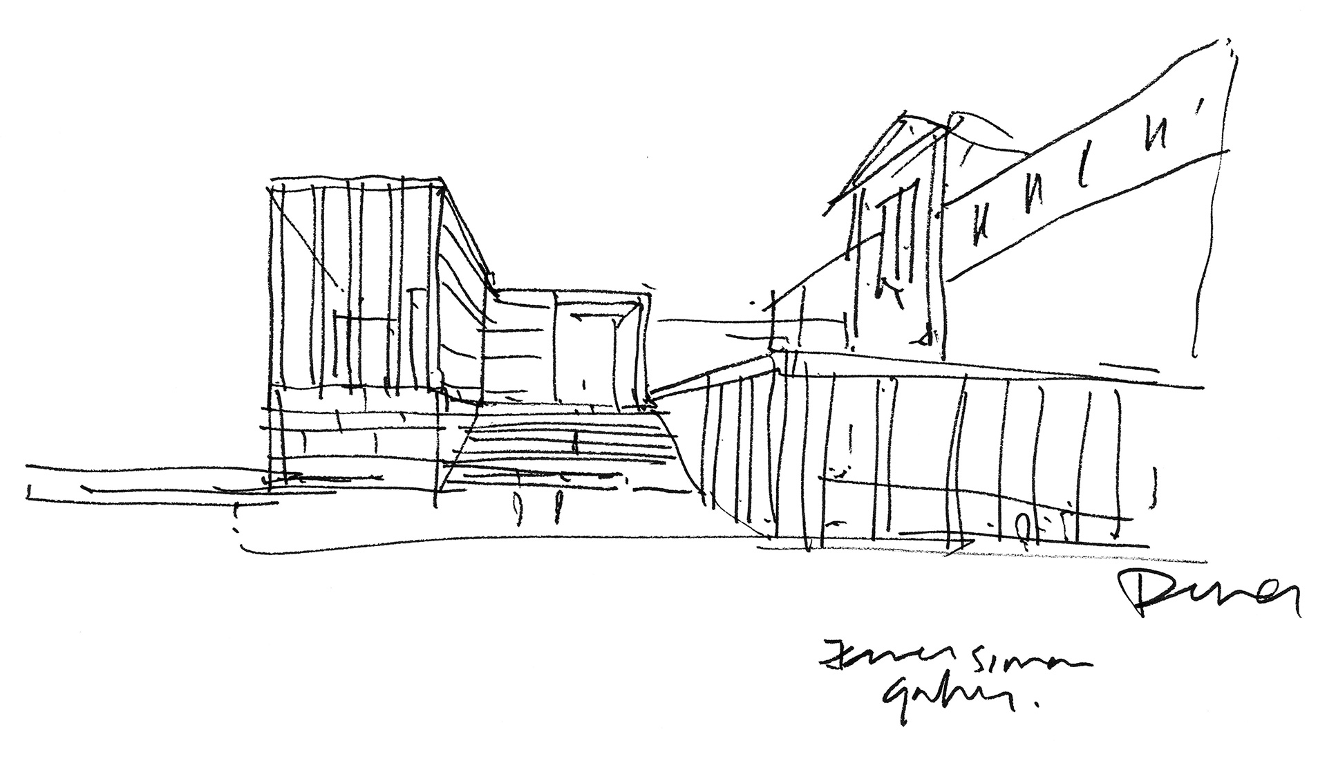 View towards the main entrance, sketch by David Chipperfield| James Simon Galerie | David Chipperfield Architects| STIR