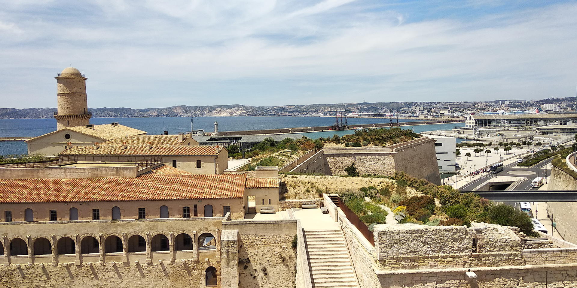 Capturing the various blended shades of ancient and contemporary at Fort St.Jean with blue hues of water and sky (2019)| Marseille | France | STIR