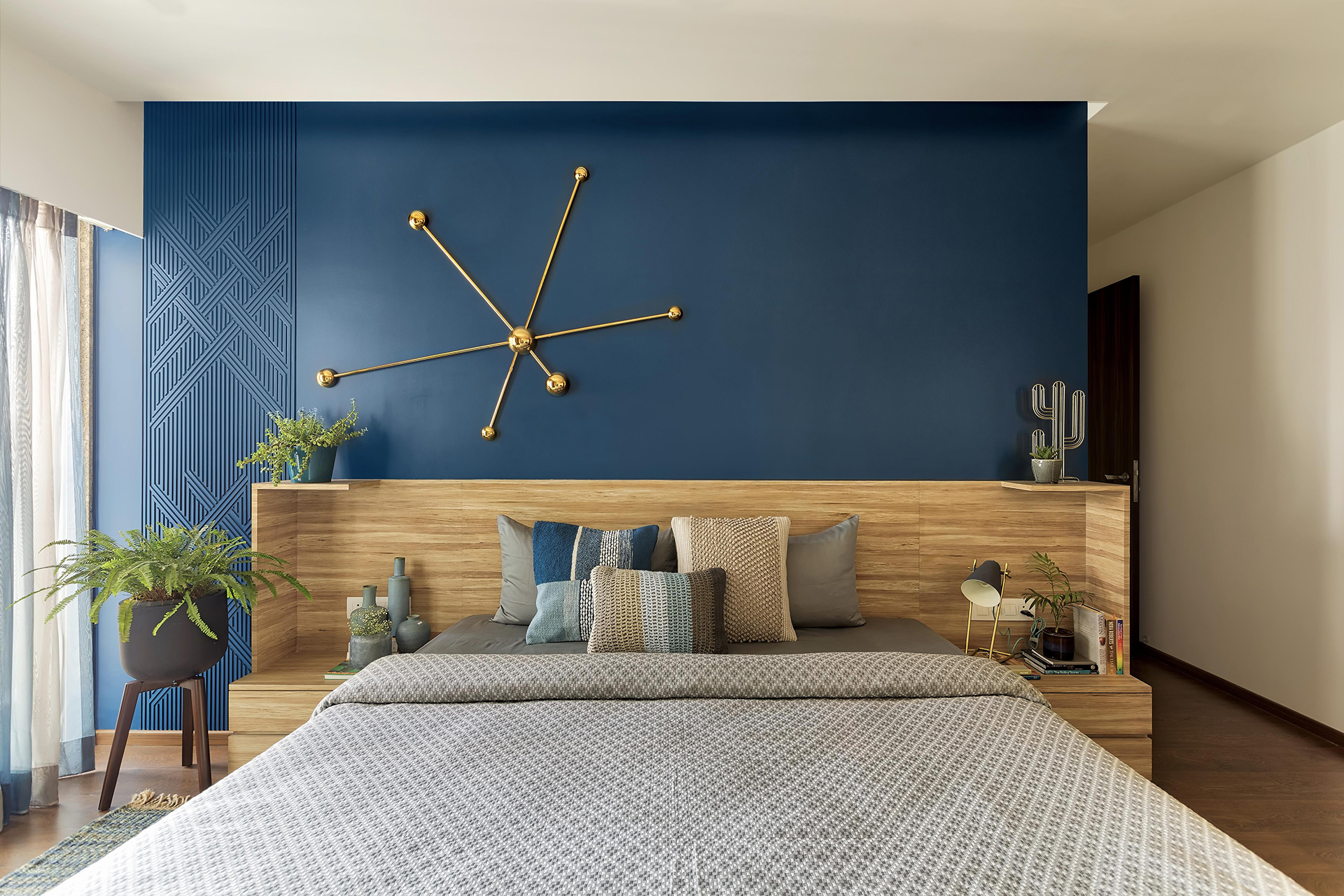 Colours and accessories in the bedrooms have been coordinated with the contemporary Mediterranean feel of the rest of the living areas| Anu Chauhan, Prashant Chauhan| Zero9| STIR