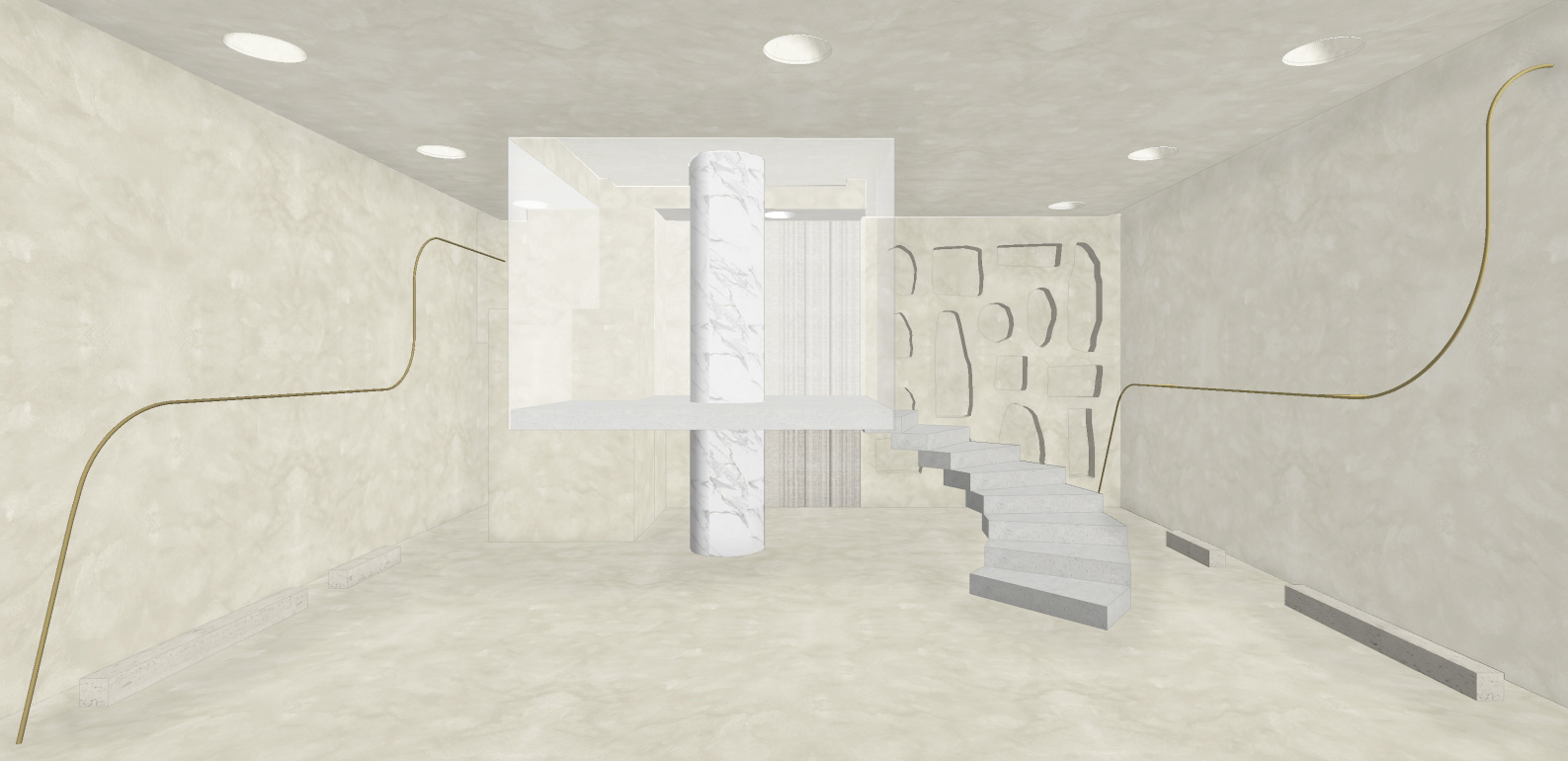 A drawing showing the two levels (display and dressing) within the interior |  HAIGHT Store | MNMA studio | STIR