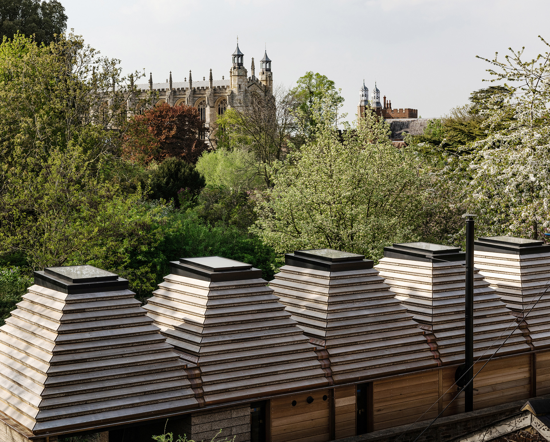 The Cork House with its five corbelled roofs, with skylights | Matthew Barnett Howland | Dido Milne| Oliver Wilton| The Cork House| RIBA Stirling Prize 2019| STIR