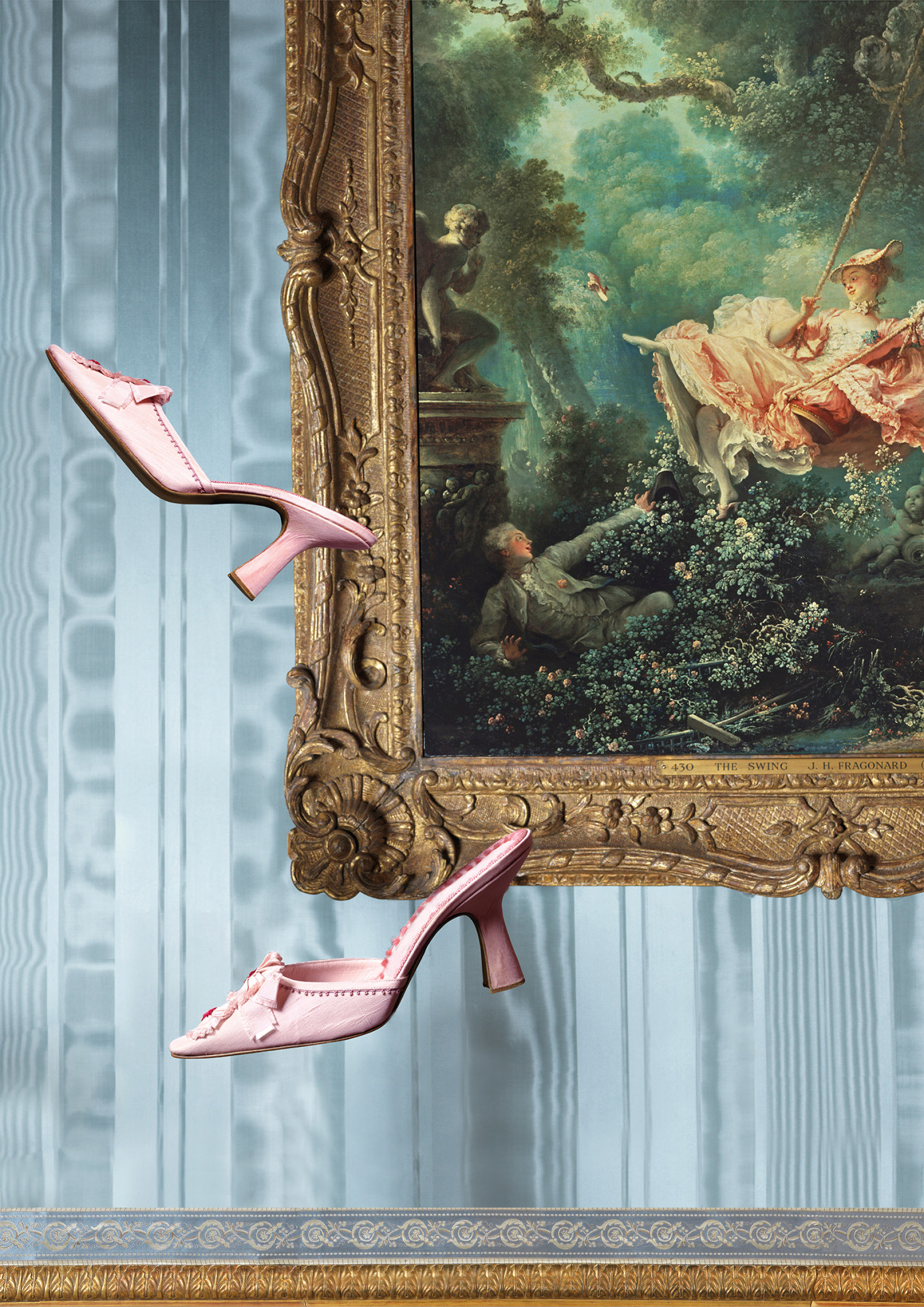 The exhibition showcases more than 150 of Manolo Blahnik's exquisite designs alongside artworks including Jean-Honoré Fragonard's 1767 iconic The Swing painting| An Enquiring Mind: Manolo Blahnik| The Wallace Collection| STIR