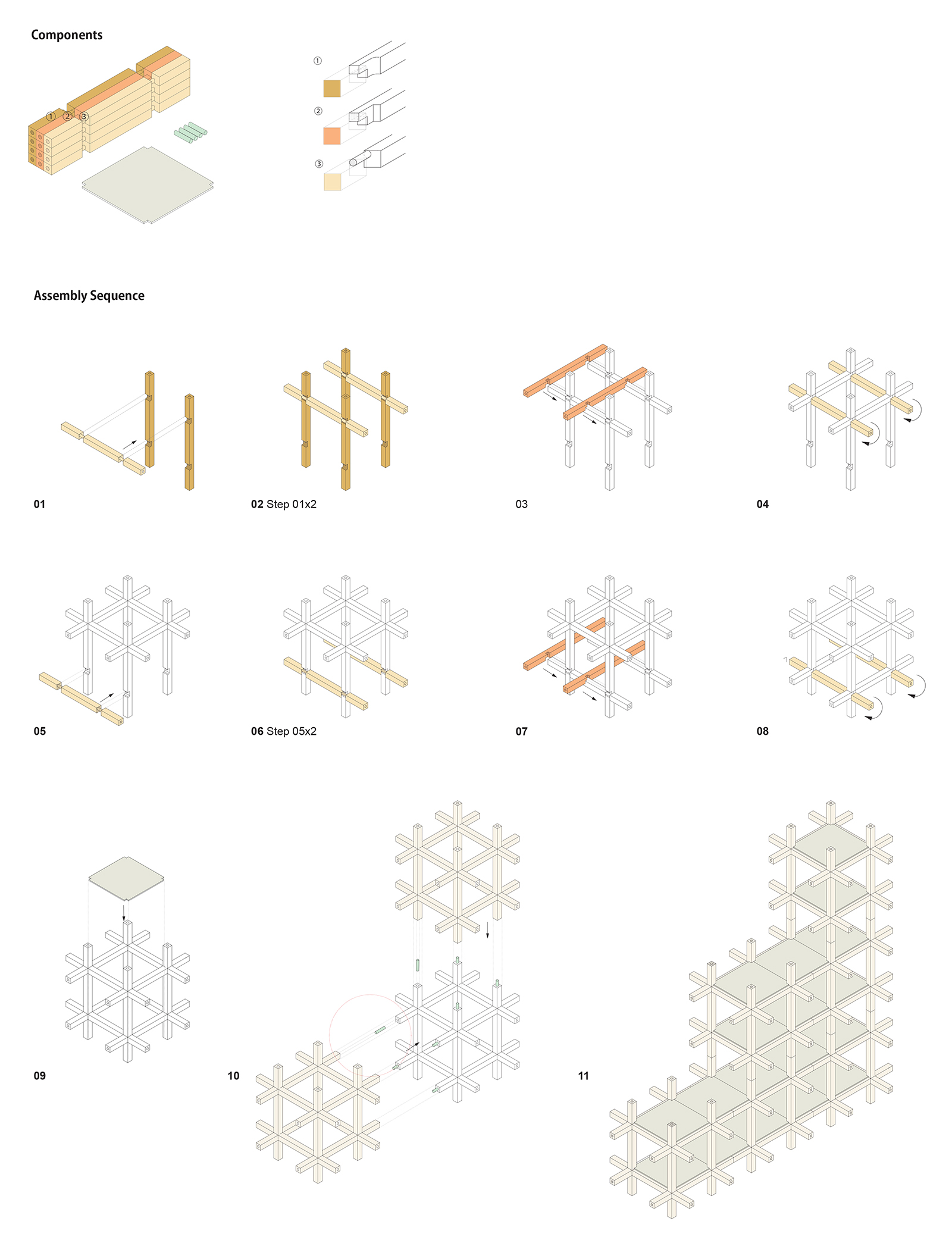 Assembly Diagram| Chidori furniture | Kengo Kuma and Associates | STIR