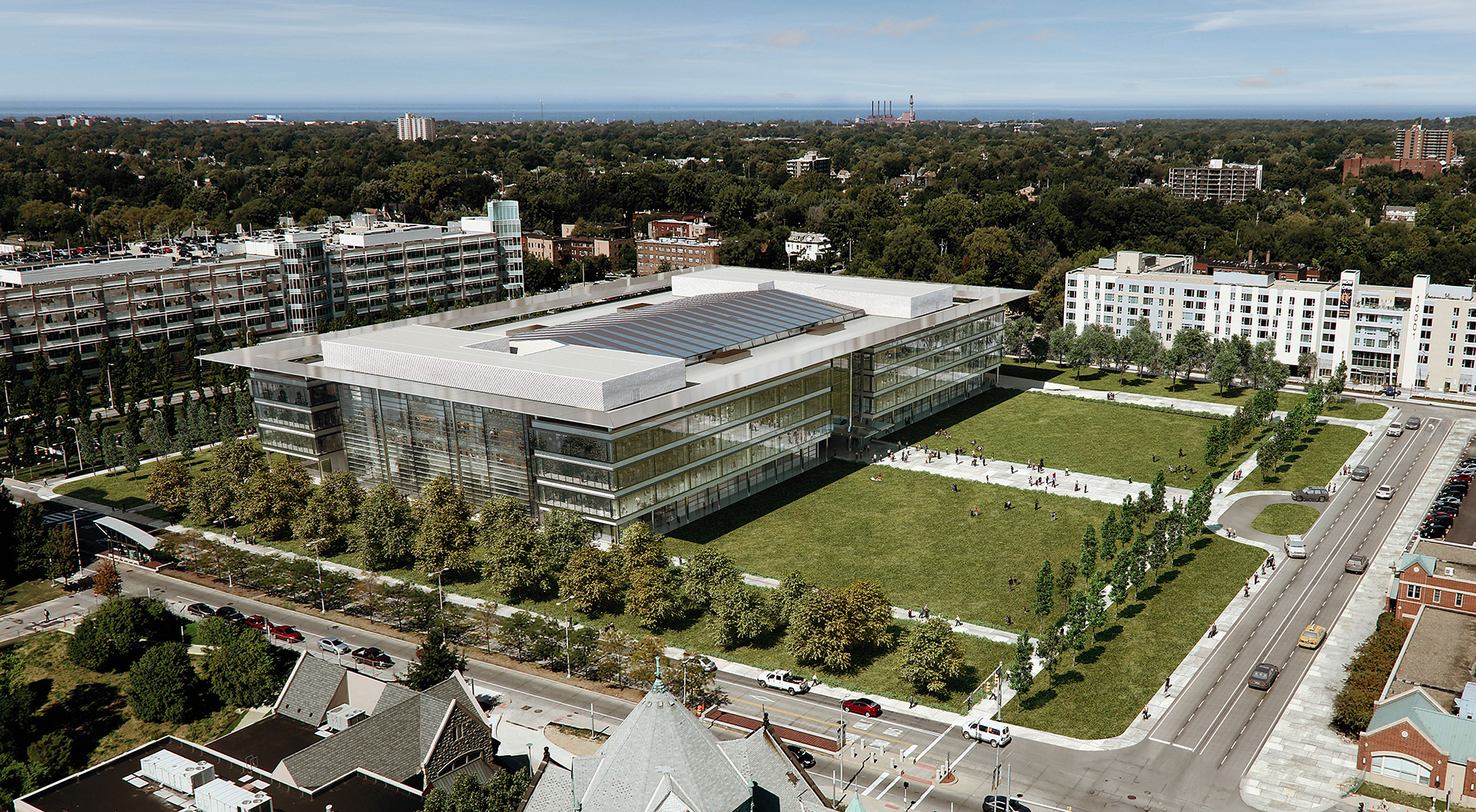 An aerial view of the pavilion | Cleveland Clinic | Foster + Partners | STIR