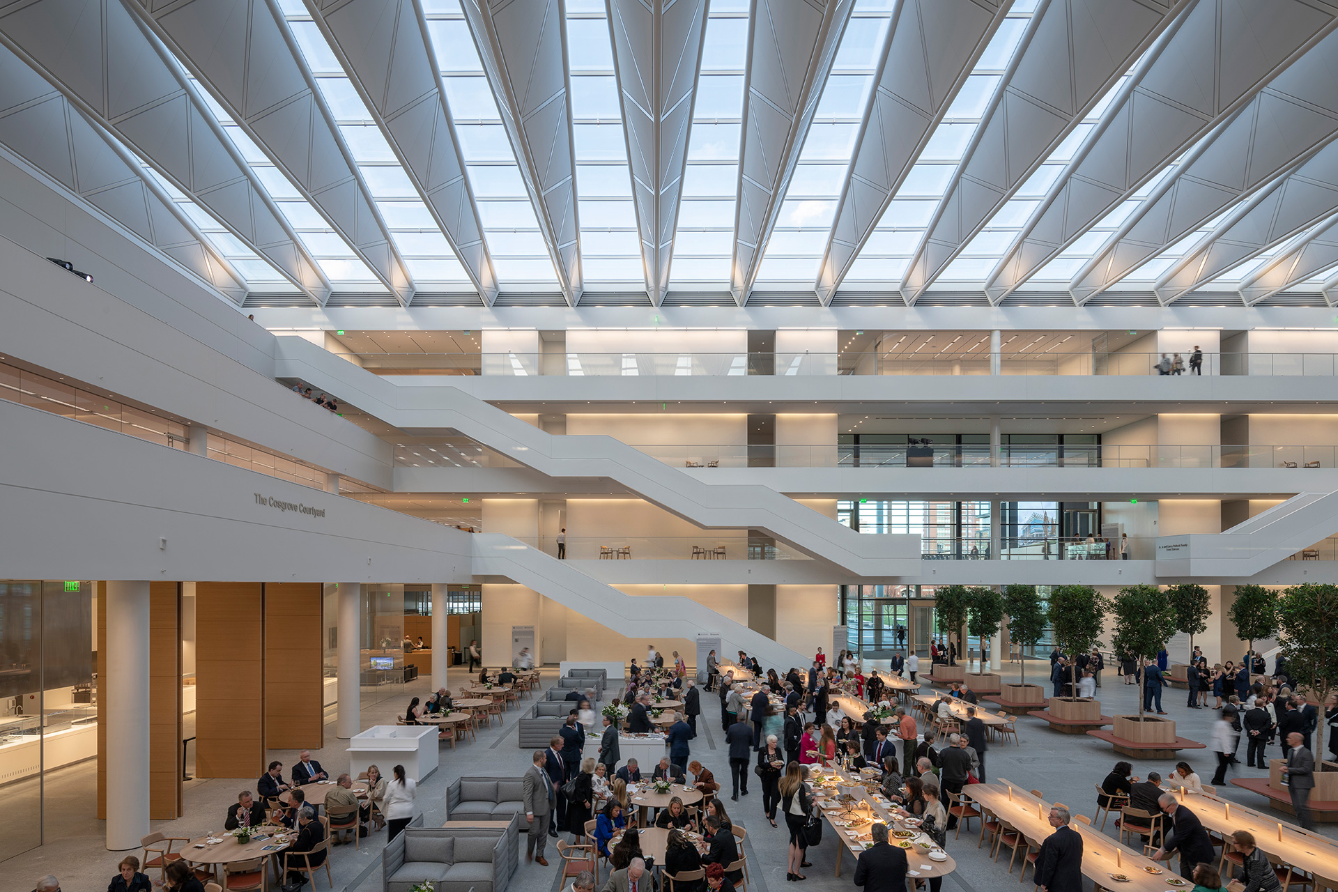 The atrium provides layered shared spaces for various schools of work together | Cleveland Clinic | Foster + Partners | STIR