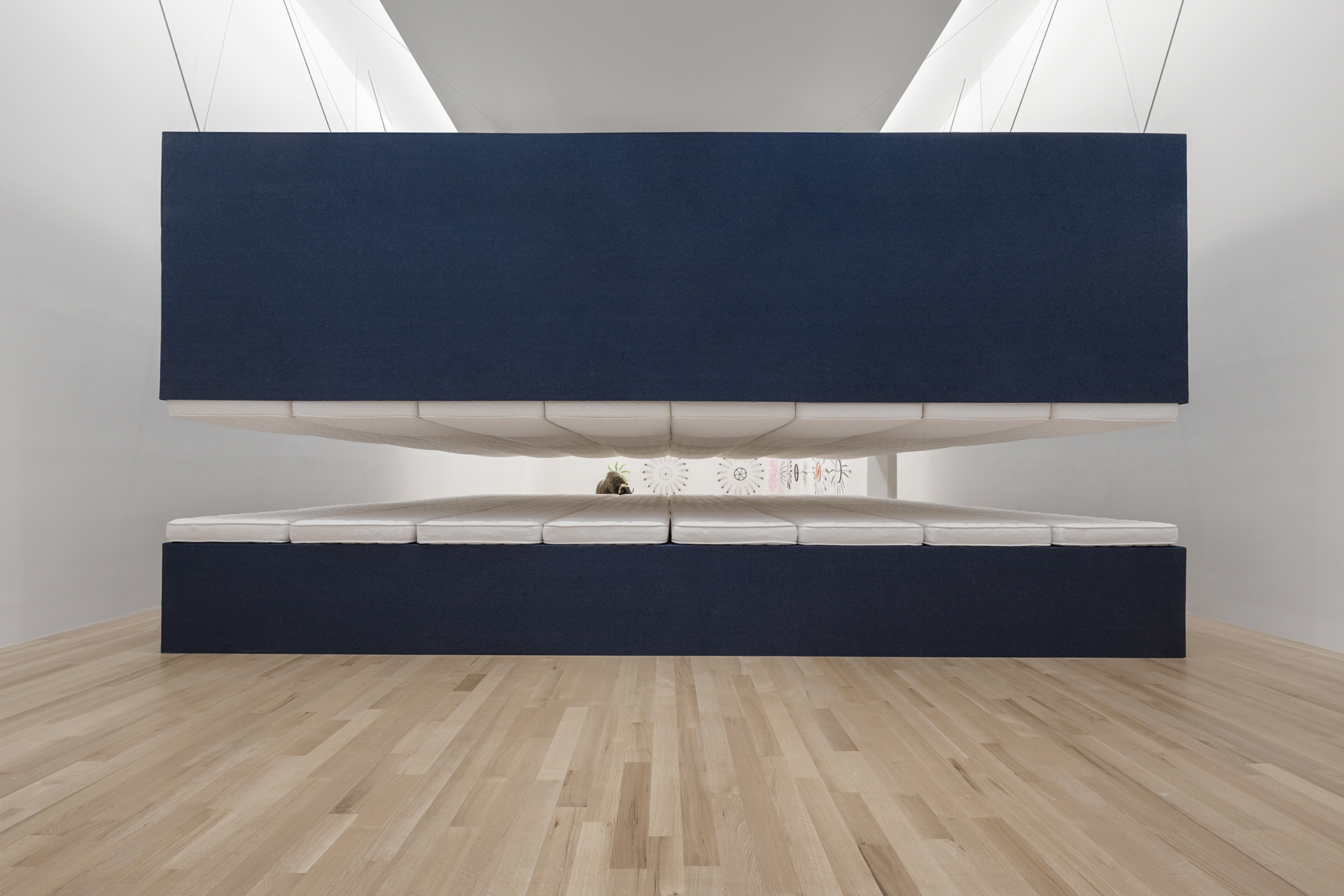 Paola Pivi. World Record, 2018, mattresses, wood, steel, denim, 398.8 × 774.7 × 955 cm| Paola Pivi. World Record| STIR