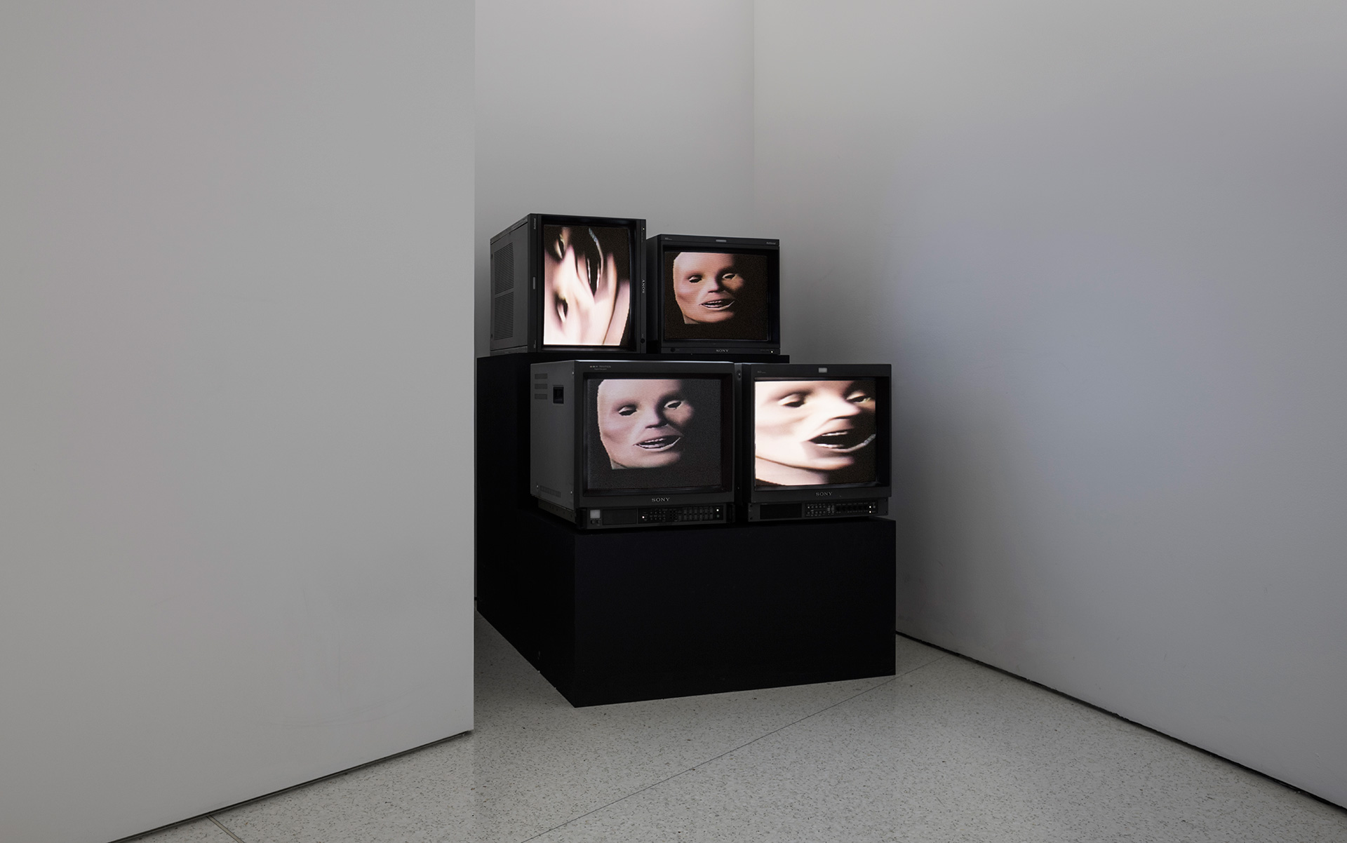 Wild Dead I, II, III (Danceteria Version), 1984. Two-channel video on CRT monitors with soundtracks by Stuart Argabright and Michael Diekmann. Installation view of Gretchen Bender: So Much Deathless at Red Bull Arts New York, 2019| Gretchen Bender | STIR