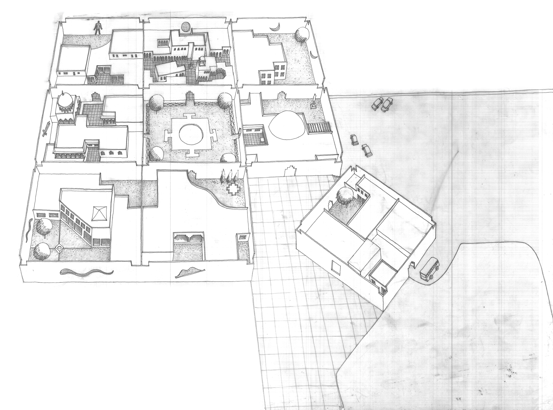 Isometric drawing of layout | JKK | Charles Correa Associates | STIR