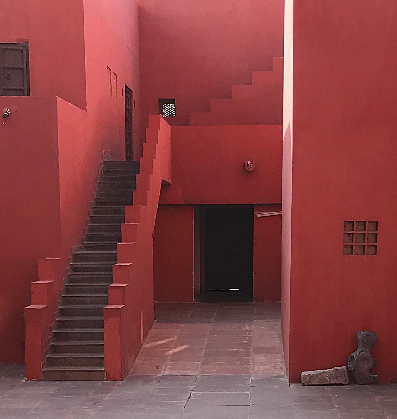 Quaint exteriors with simple geometric composition of staircases | JKK | Charles Correa Associates | STIR