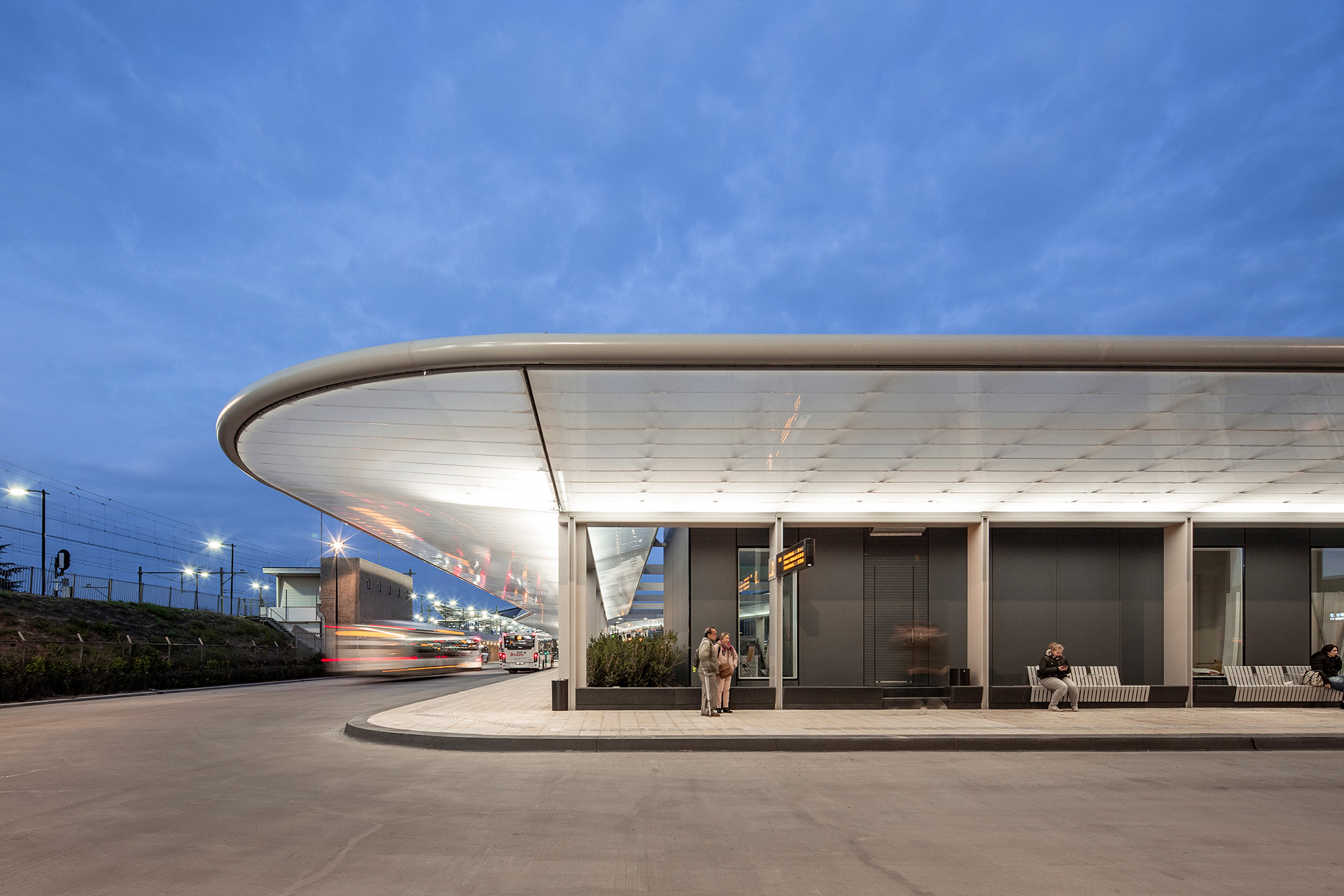 The roof of Tilburg bus station designed by Cepezed has 2,690 square feet of solar panels that produce enough energy to power the lighting, digital signage and canteen for the staff | Tilburg Bus Station| Cepezed| STIR