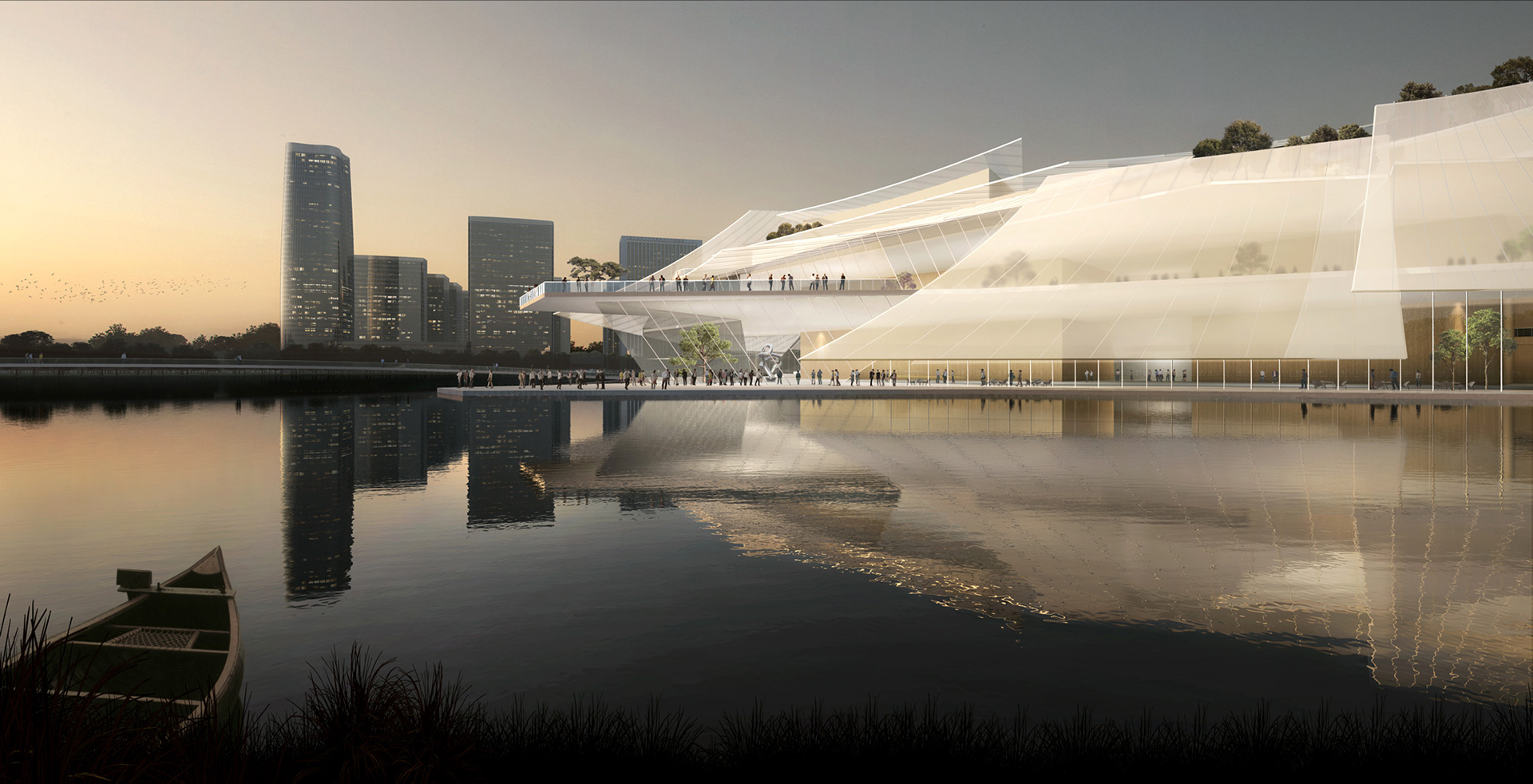 The façade is formed by layering of glass sails in an ethereal composition | Yiwu Grand Theater | MAD Architects | STIR