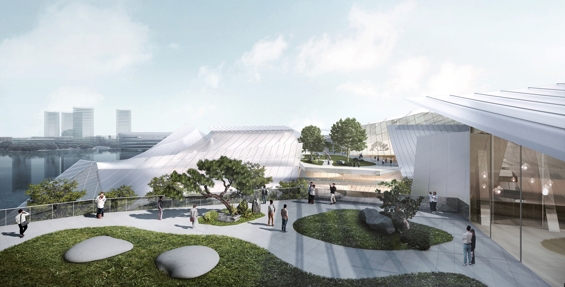 A view of the public plaza with stepped green terraces in the background | Yiwu Grand Theater | MAD Architects | STIR