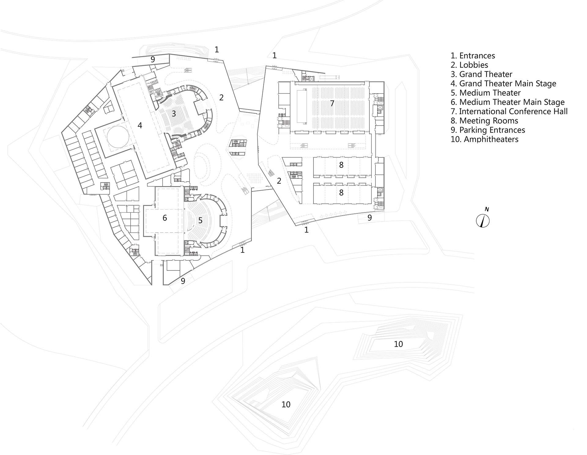 First floor plan | Yiwu Grand Theater | MAD Architects | STIR