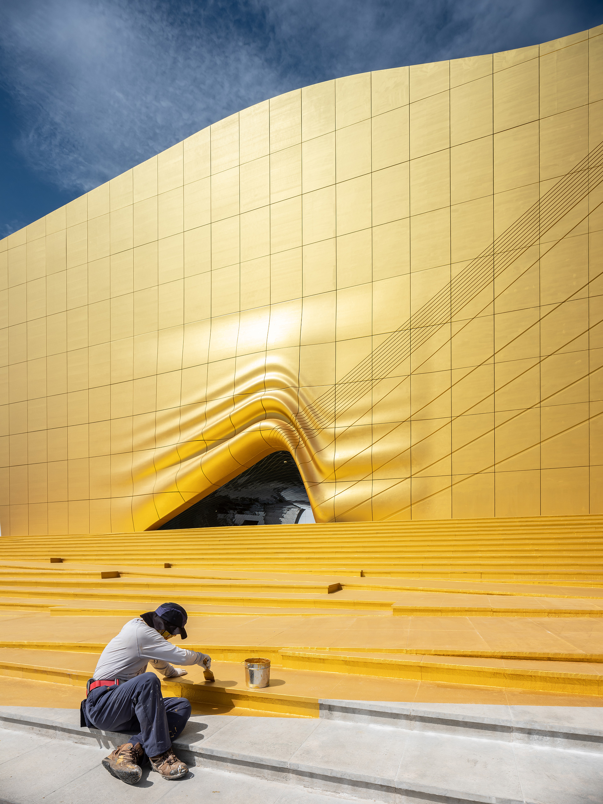The spotlight on the building is a result of a gold painted facade, which is lit strategically from top to accentuate that effect| The Imprint | MVRDV | STIR