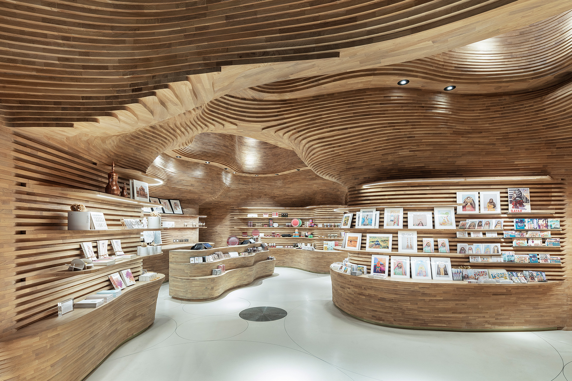 Interiors of the gift shop inspired from the structure of the caves | Qatar Museum Interiors | Koichi Takada Architects| STIR