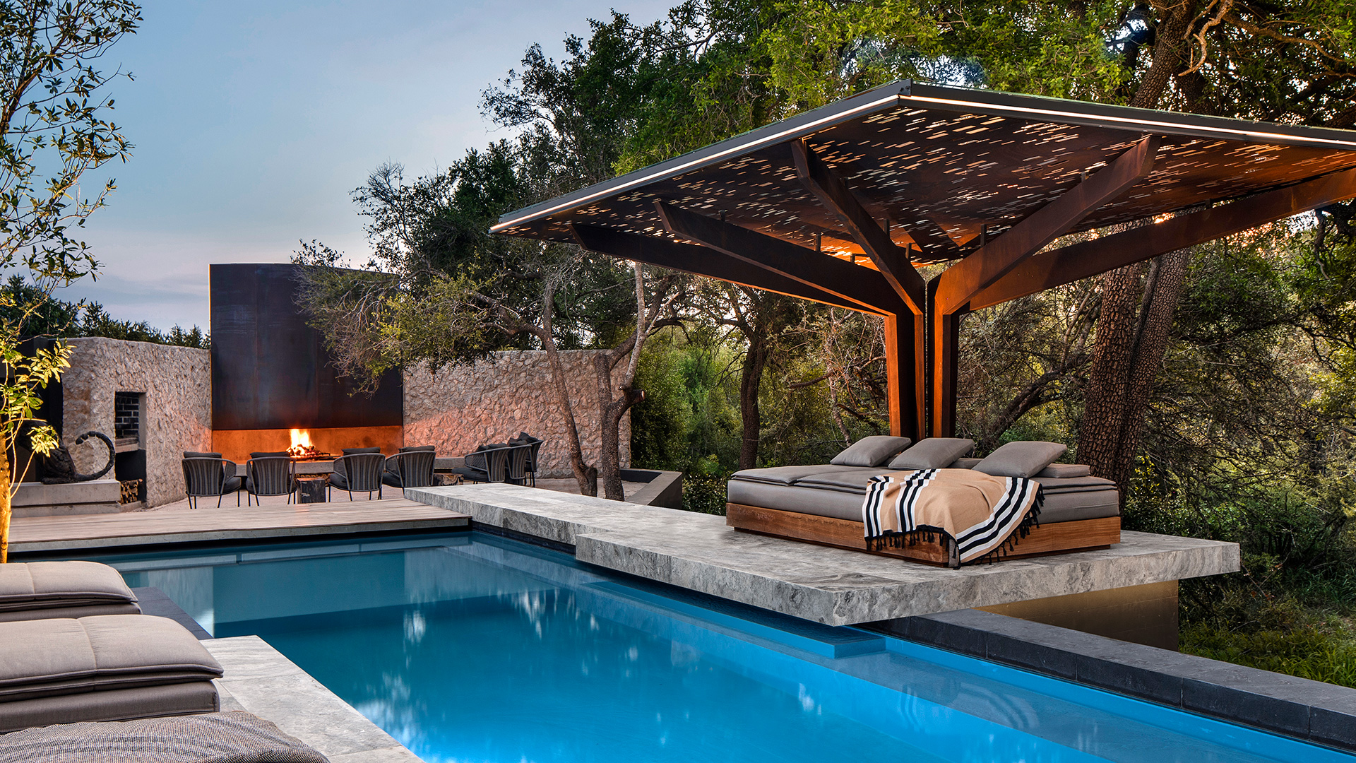 The patio terrace with shaded pavilion and the pool | Cheetah Plains | ARRCC | STIR