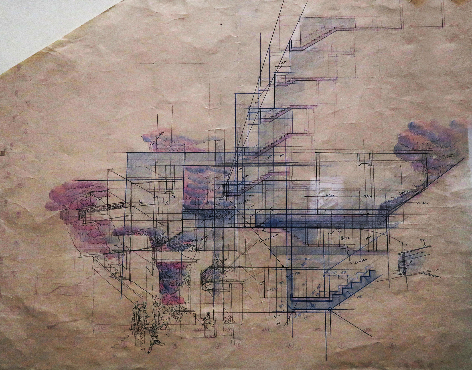 Sketch by Tadao Ando, exhibited at The Challenge| The Challenge| Tadao Ando| Armani/Silos| STIR