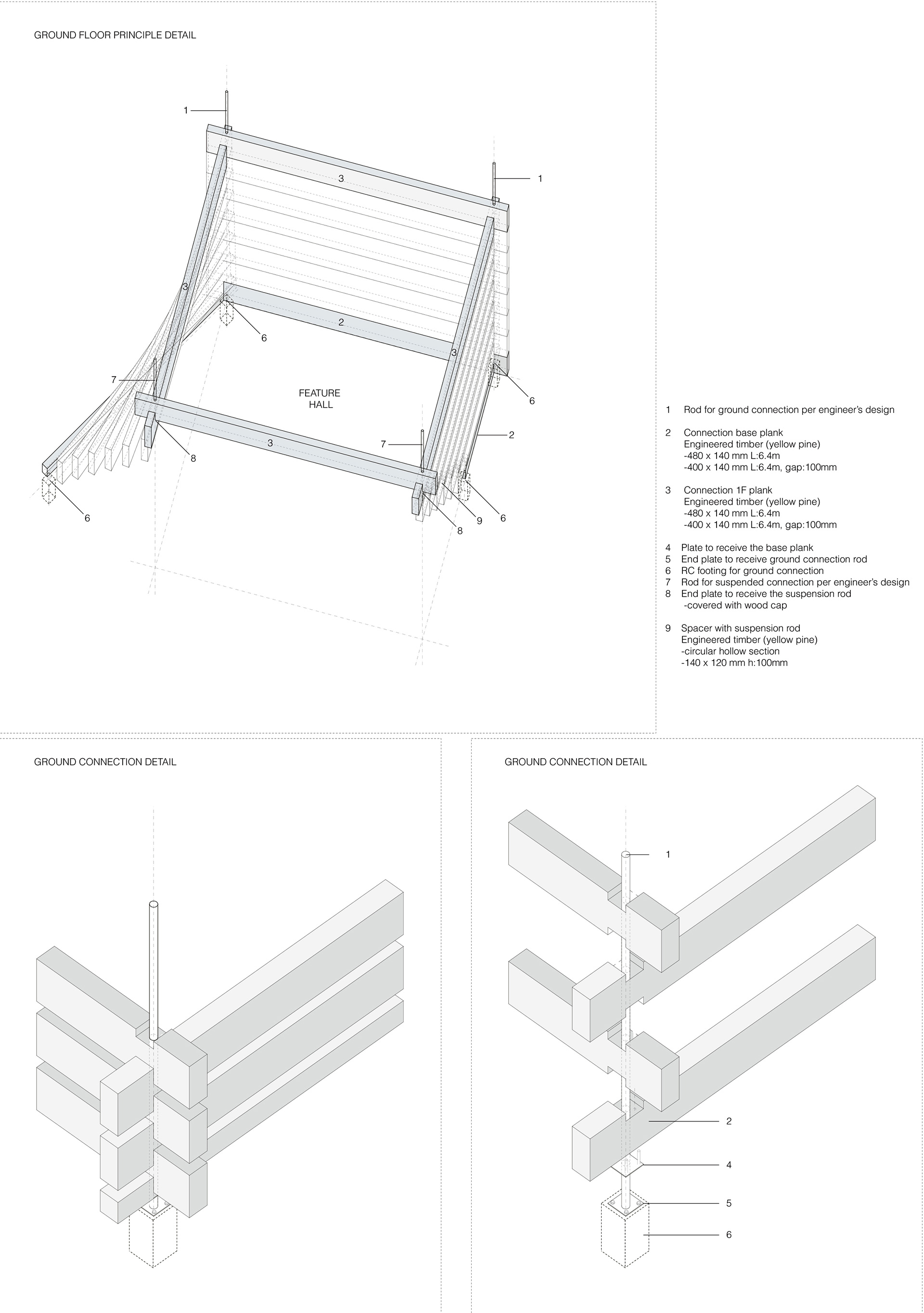 Atrium Detail - axonometric | Odunpazari Modern Museum| Kengo Kuma and Associates | STIR