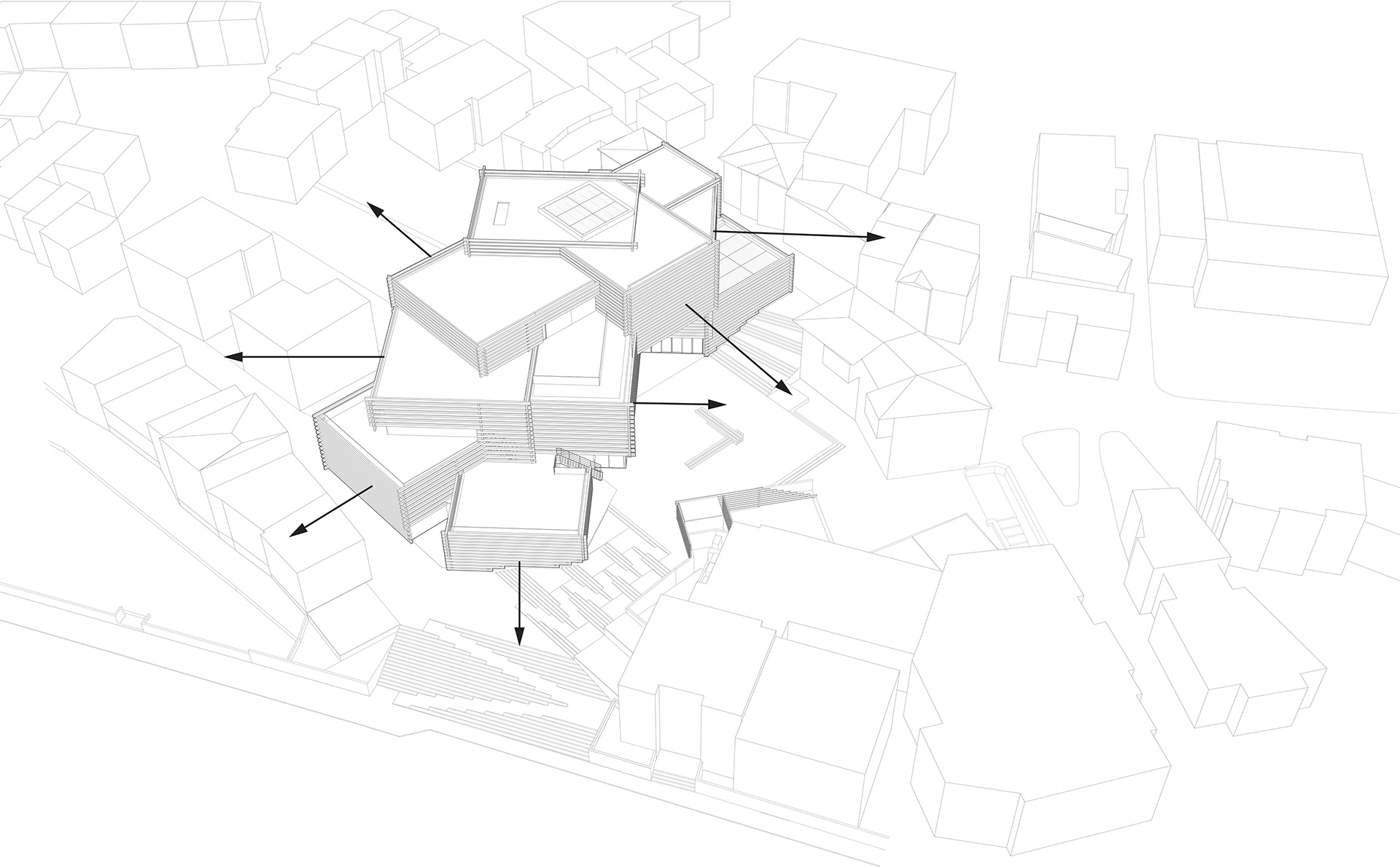 Views from the OMM - axonometric| Odunpazari Modern Museum| Kengo Kuma and Associates | STIR